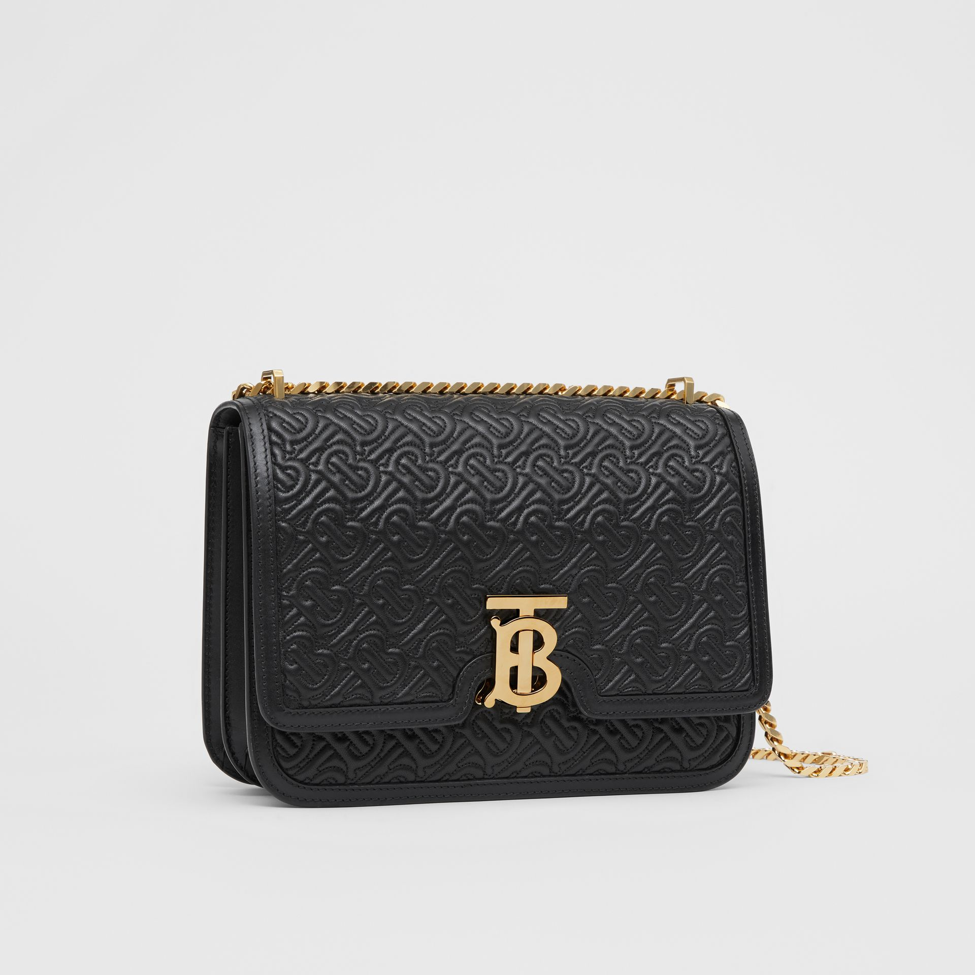 Medium Quilted Monogram Lambskin TB Bag in Black - Women | Burberry - gallery image 6