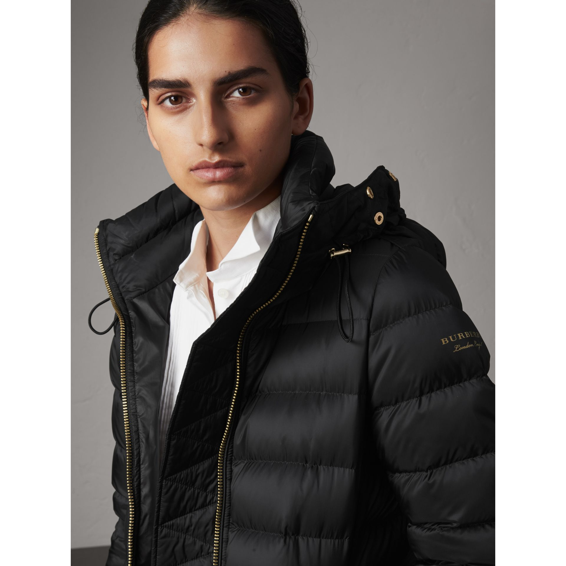 Detachable Fur Trim Down-filled Puffer Coat with Hood in Black - Women | Burberry - gallery image 1