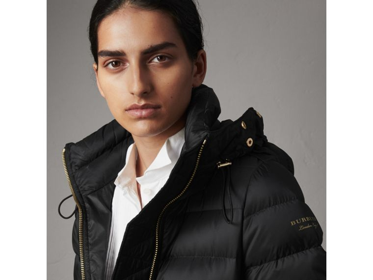 Detachable Fur Trim Down-filled Puffer Coat with Hood in Black - Women | Burberry Singapore - cell image 1