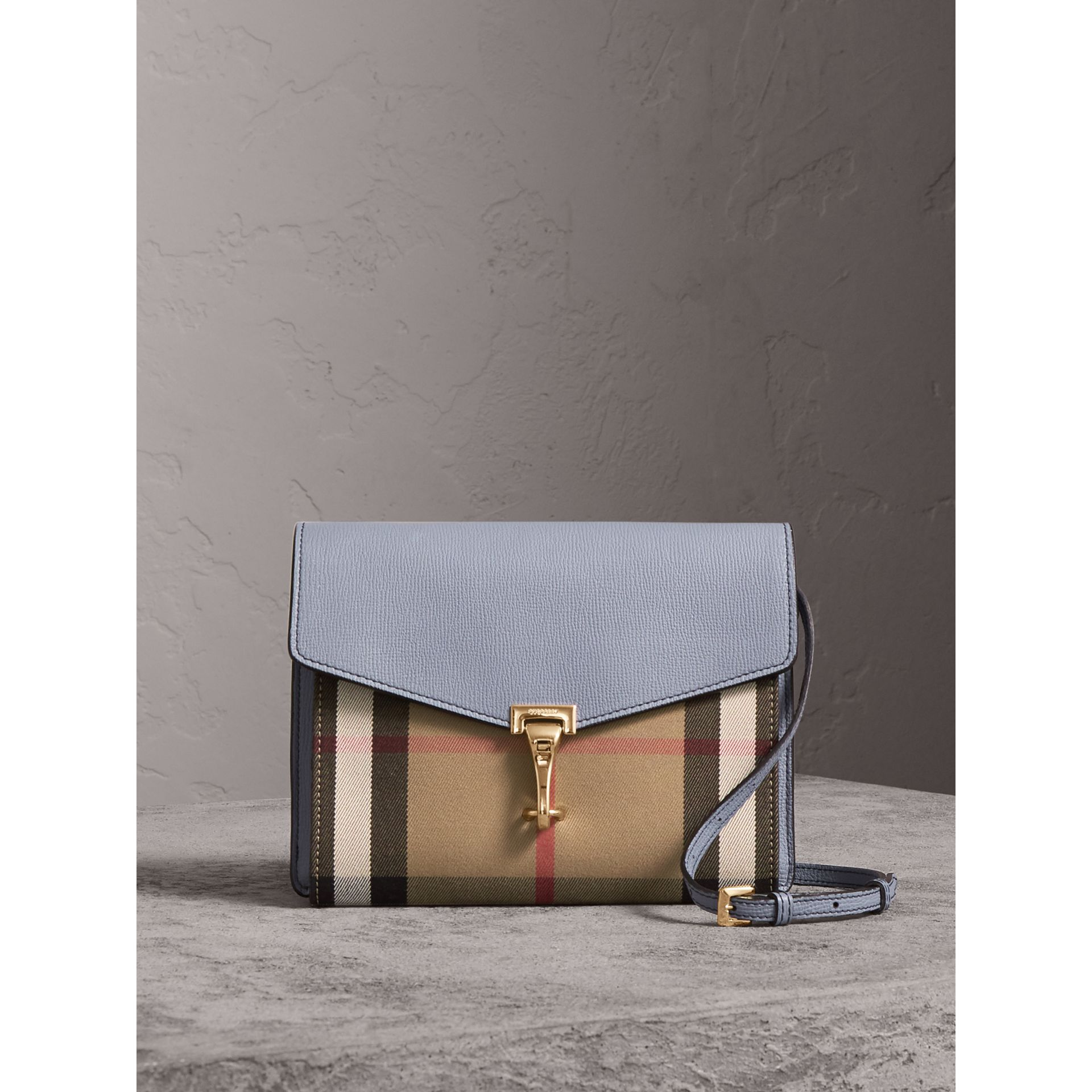 Small Leather and House Check Crossbody Bag in Slate Blue - Women | Burberry - gallery image 1