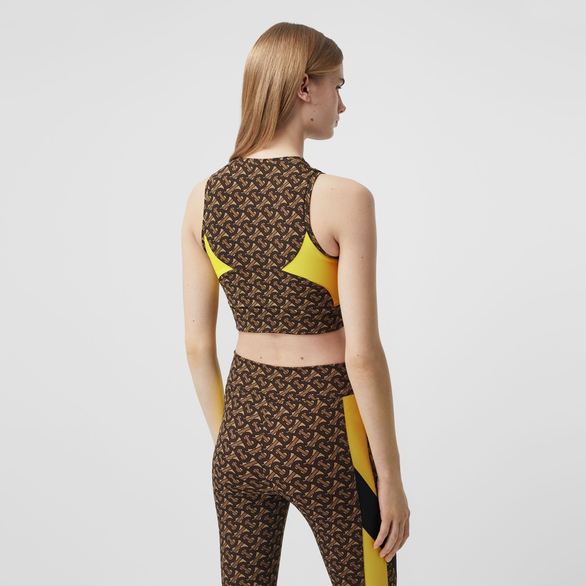 Colour Block Monogram Print Cropped Top in Bridle Brown - Women | Burberry United Kingdom - gallery image 2