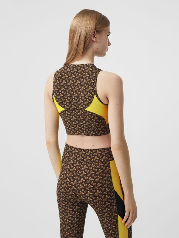 Colour Block Monogram Print Cropped Top in Bridle Brown - Women | Burberry United Kingdom - cell image 2