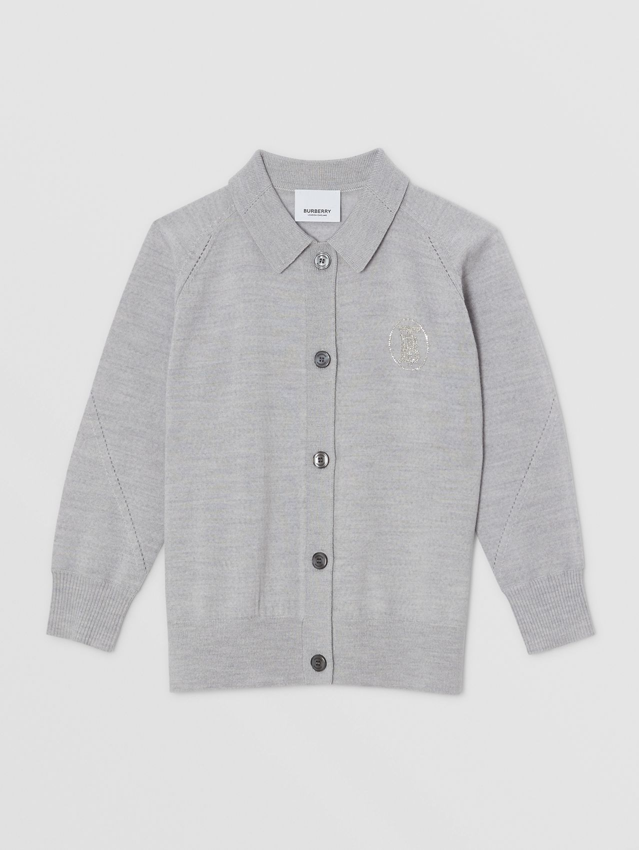 Crystal Monogram Motif Merino Wool Cardigan in Light Grey Melange