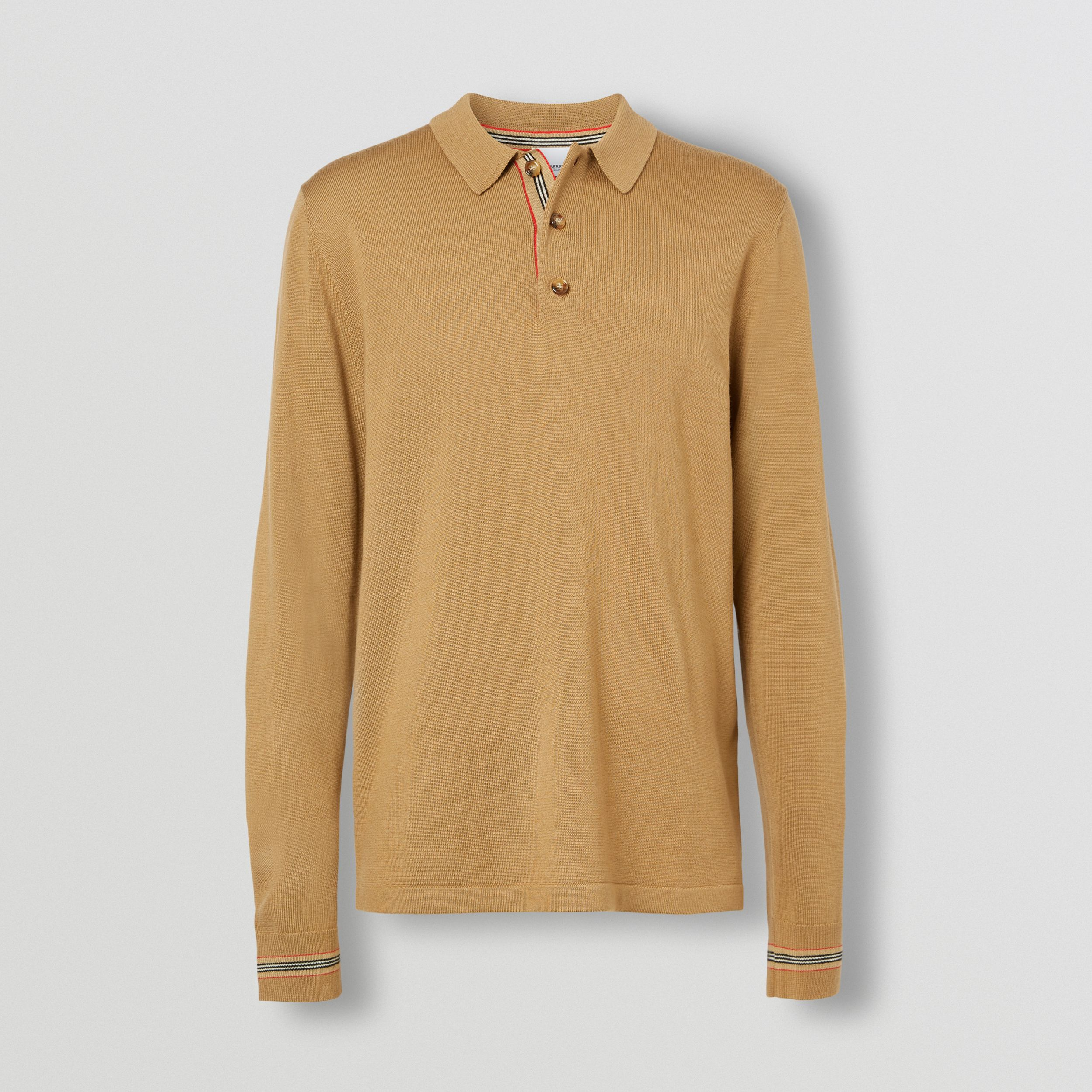 Long-sleeve Icon Stripe Detail Merino Wool Polo Shirt in Camel - Men | Burberry - 4