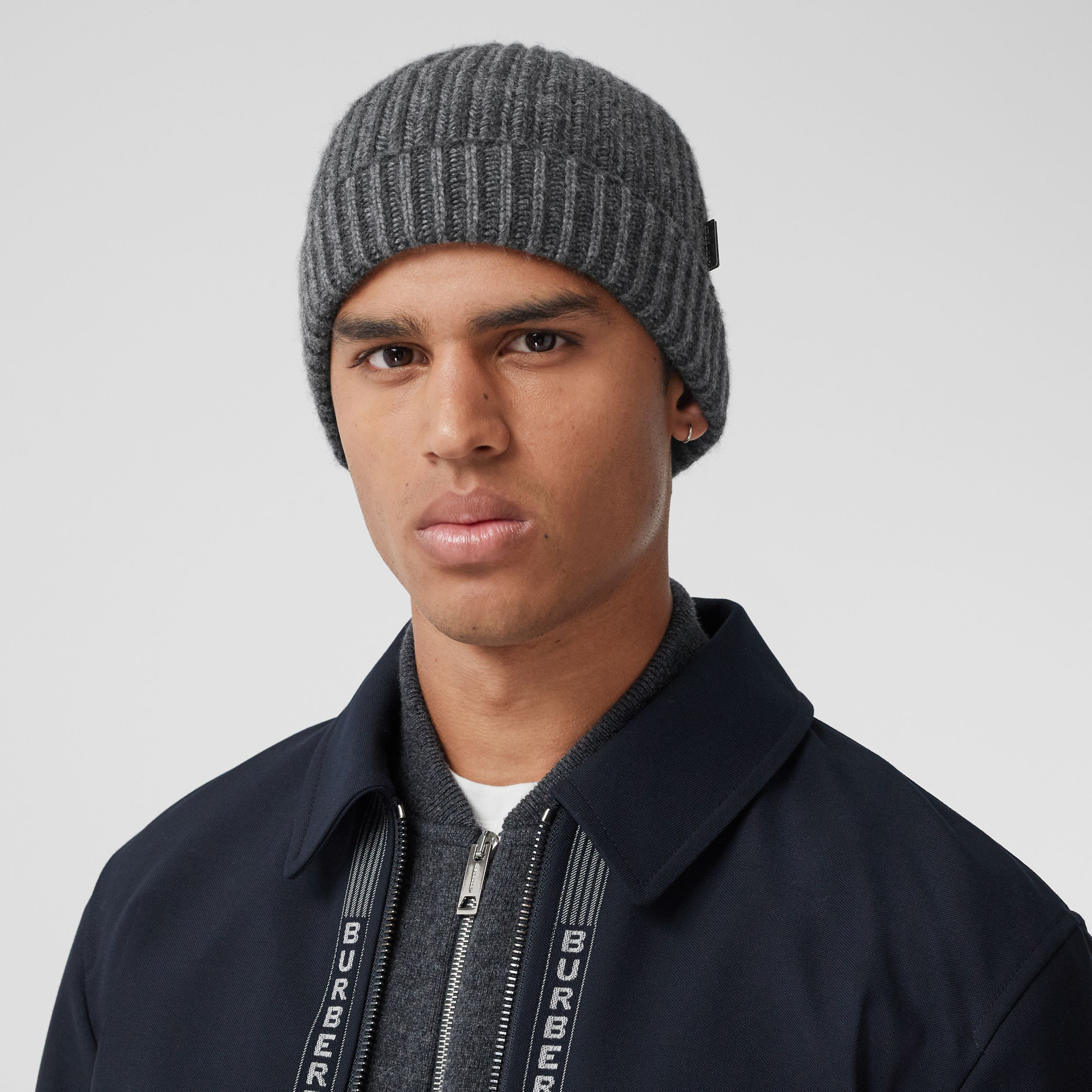 Rib Knit Cashmere Beanie in Grey Melange | Burberry - 4