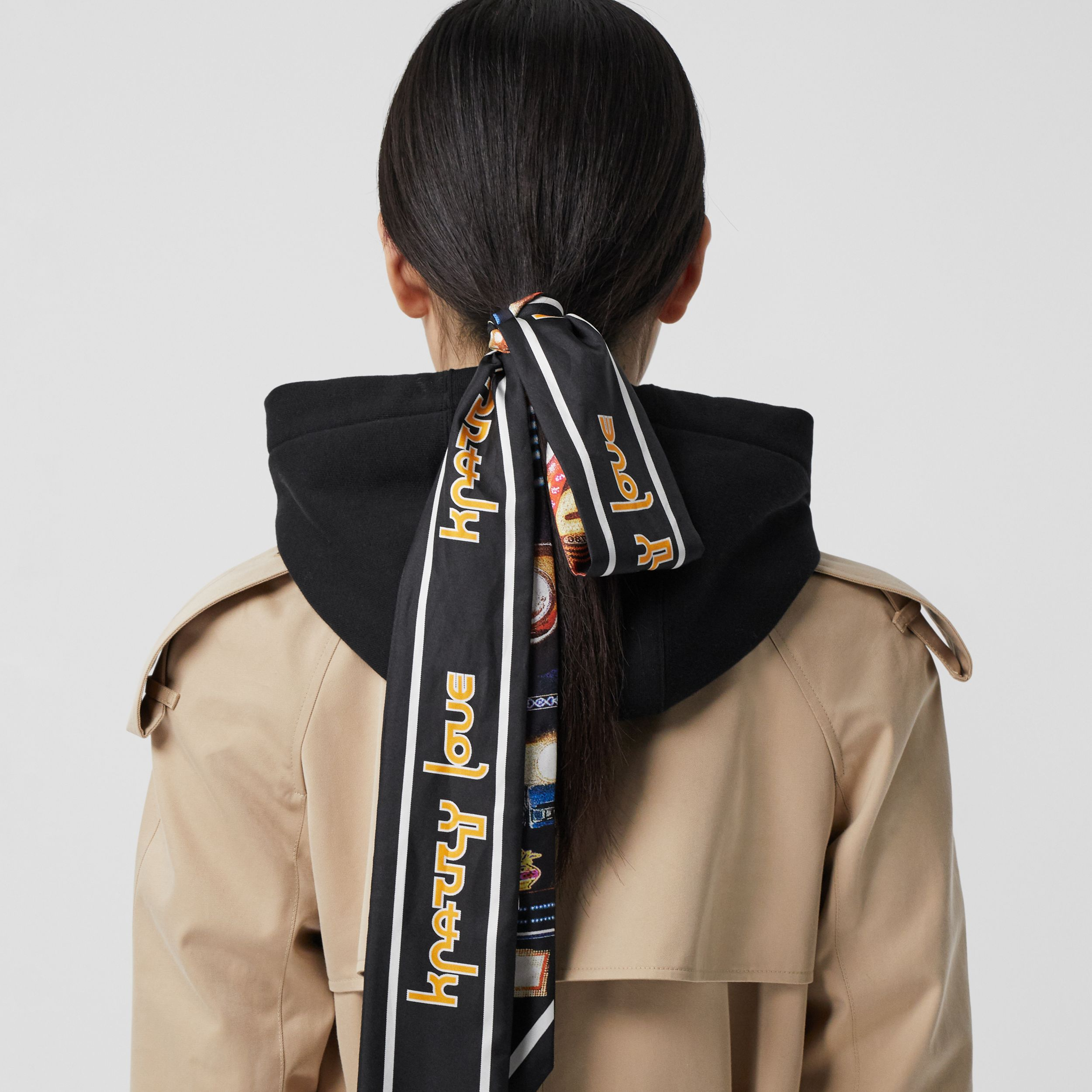 Montage Print Silk Skinny Scarf in Multicoloured | Burberry - 3