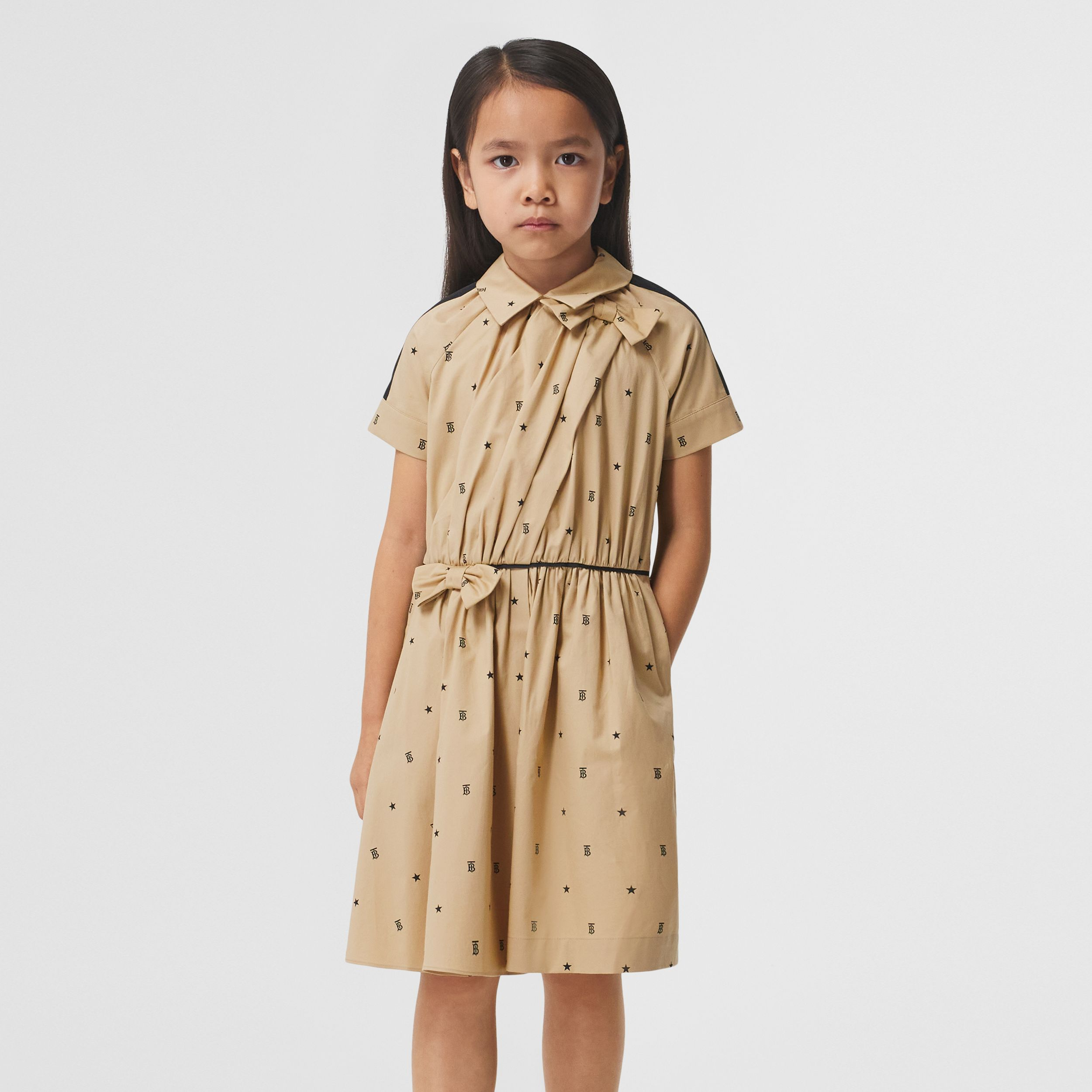 Star and Monogram Motif Stretch Cotton Dress in Sand | Burberry - 3