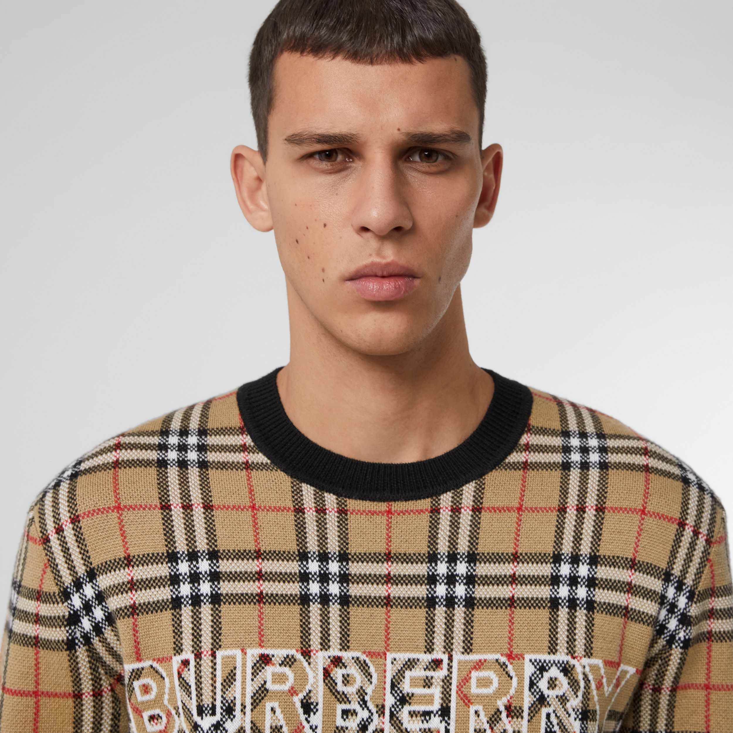Logo Check Wool Cotton Jacquard Sweater in Archive Beige - Men | Burberry - 2