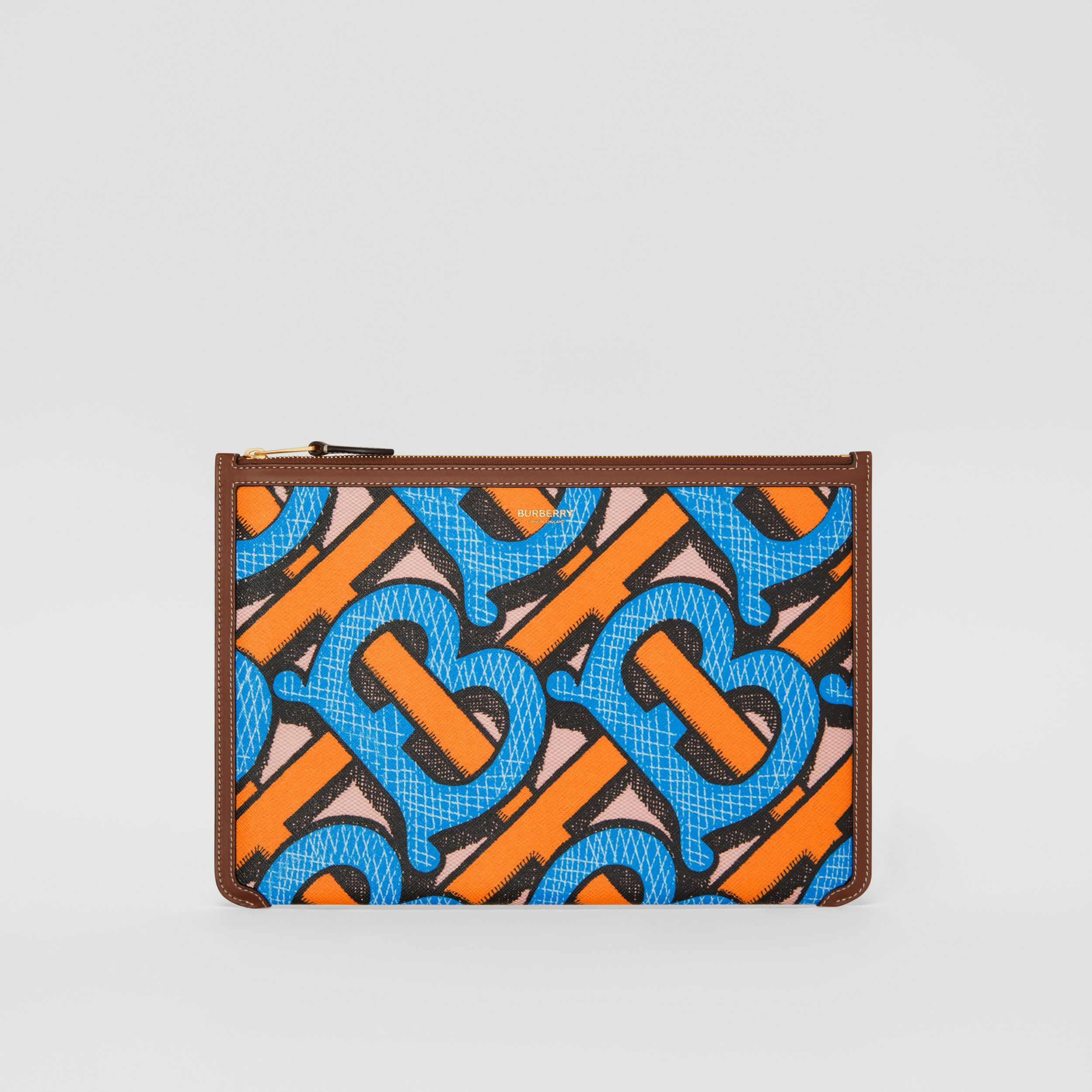 Monogram Print E-canvas and Leather Pouch in Bright Cobalt - Women | Burberry United Kingdom - 1