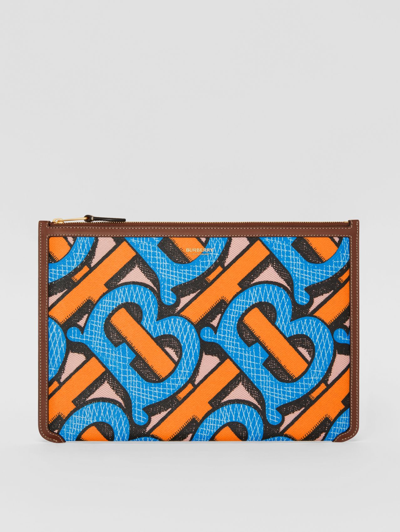Monogram Print E-canvas and Leather Pouch (Bright Cobalt)