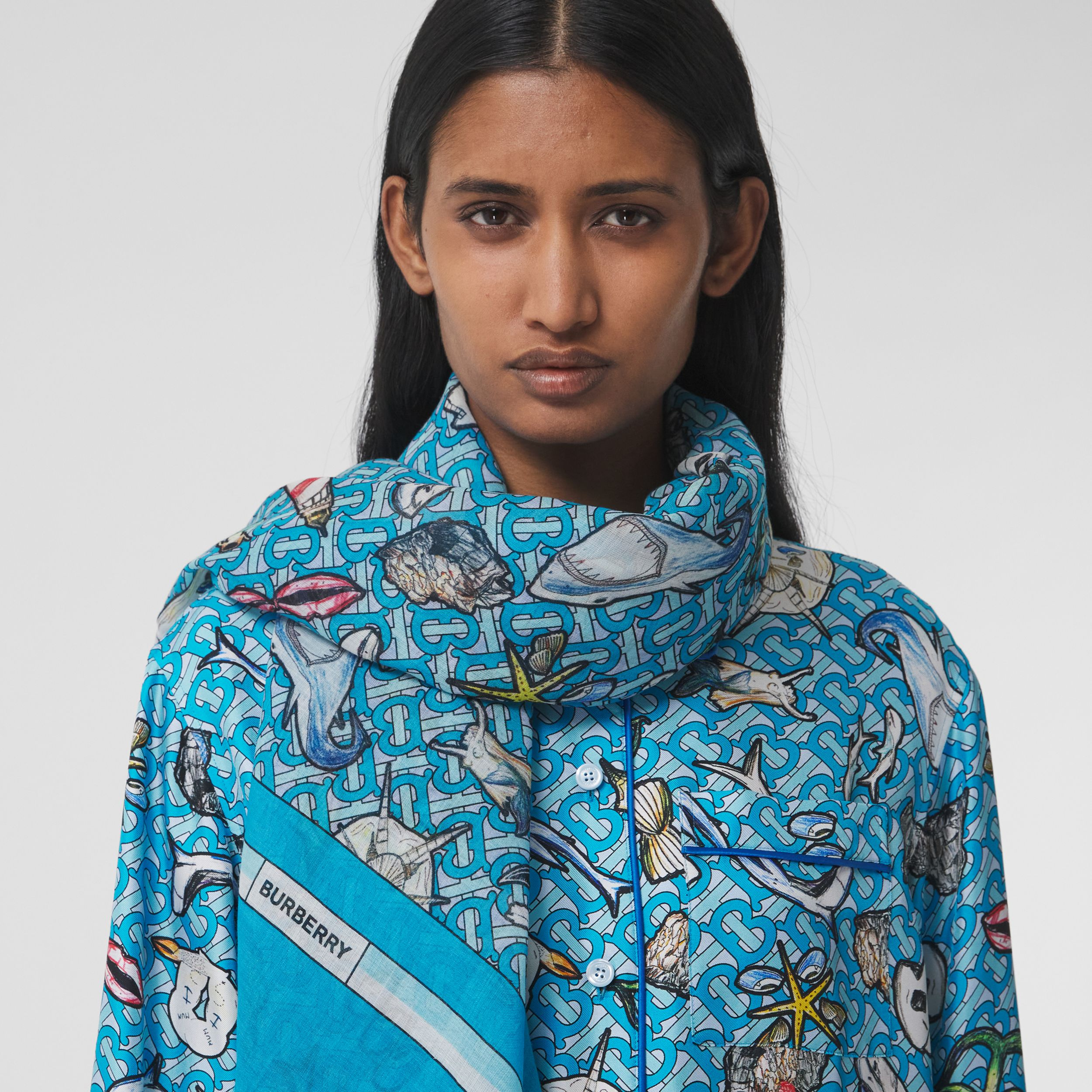 Montage Print Silk Wool Large Square Scarf in Bubblegum Blue | Burberry - 3