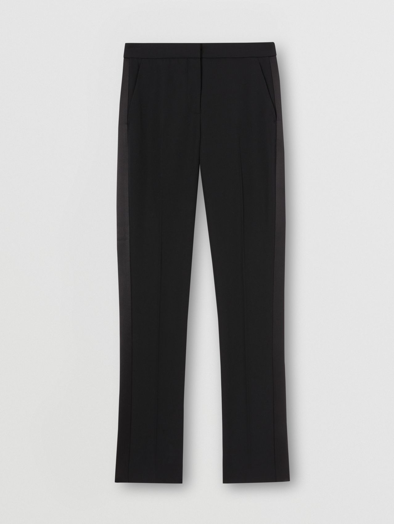 Two-tone Wool and Cotton Tailored Trousers in Black
