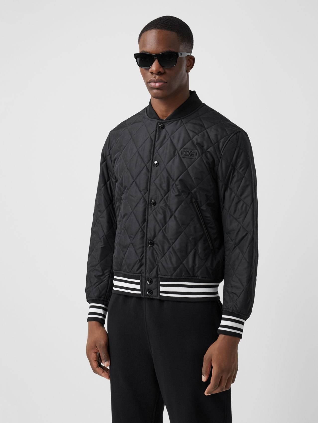 Logo Appliqué Diamond Quilted Nylon Canvas Jacket (Black)