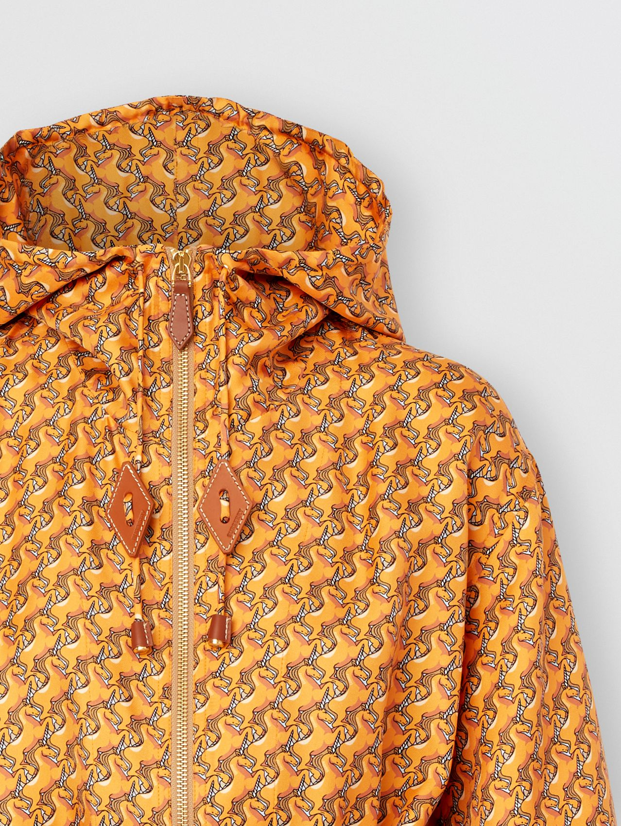 Unicorn Print Silk Twill Hooded Jacket (Bright Melon)