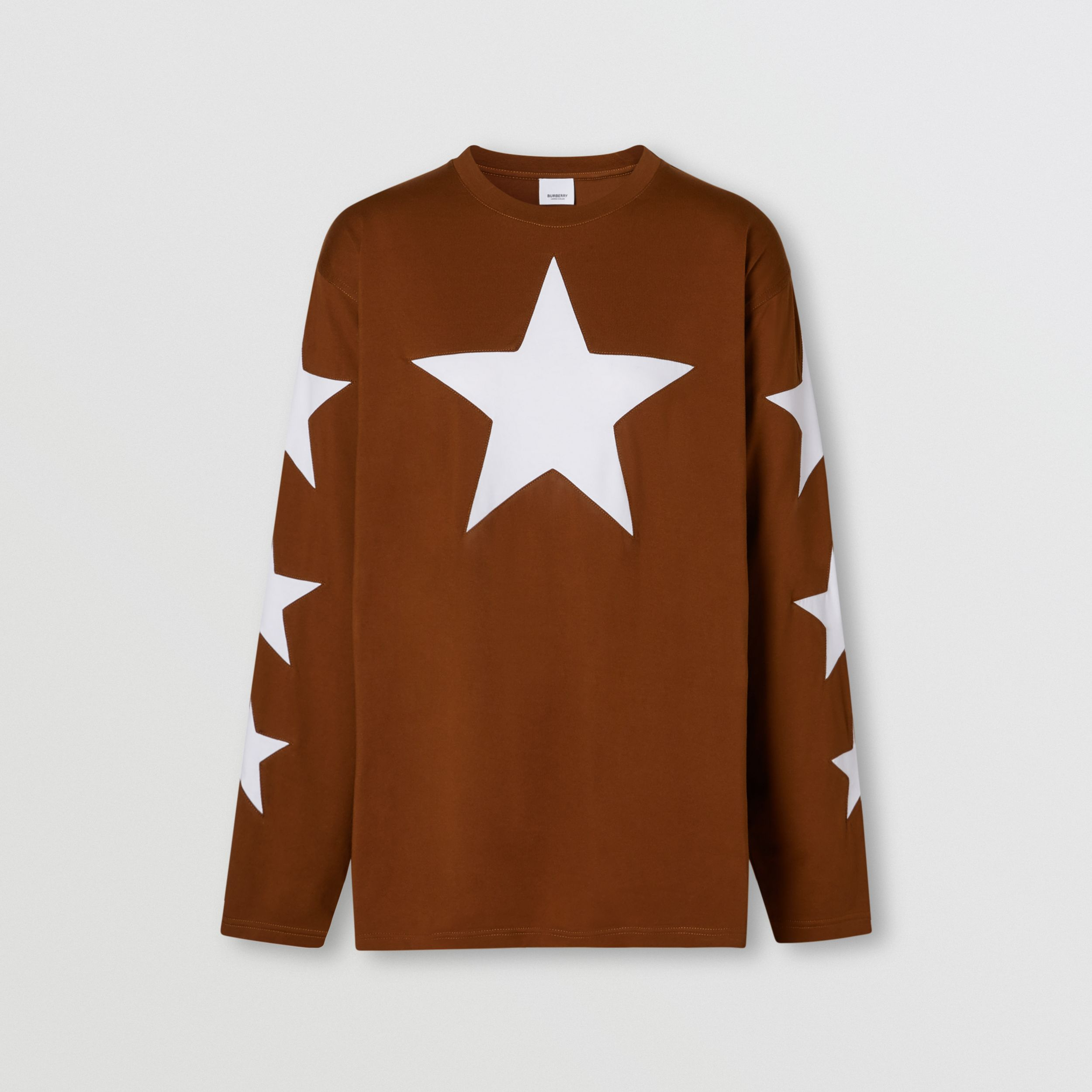 Long-sleeve Star Motif Cotton Oversized Top in Mahogany - Women | Burberry - 3