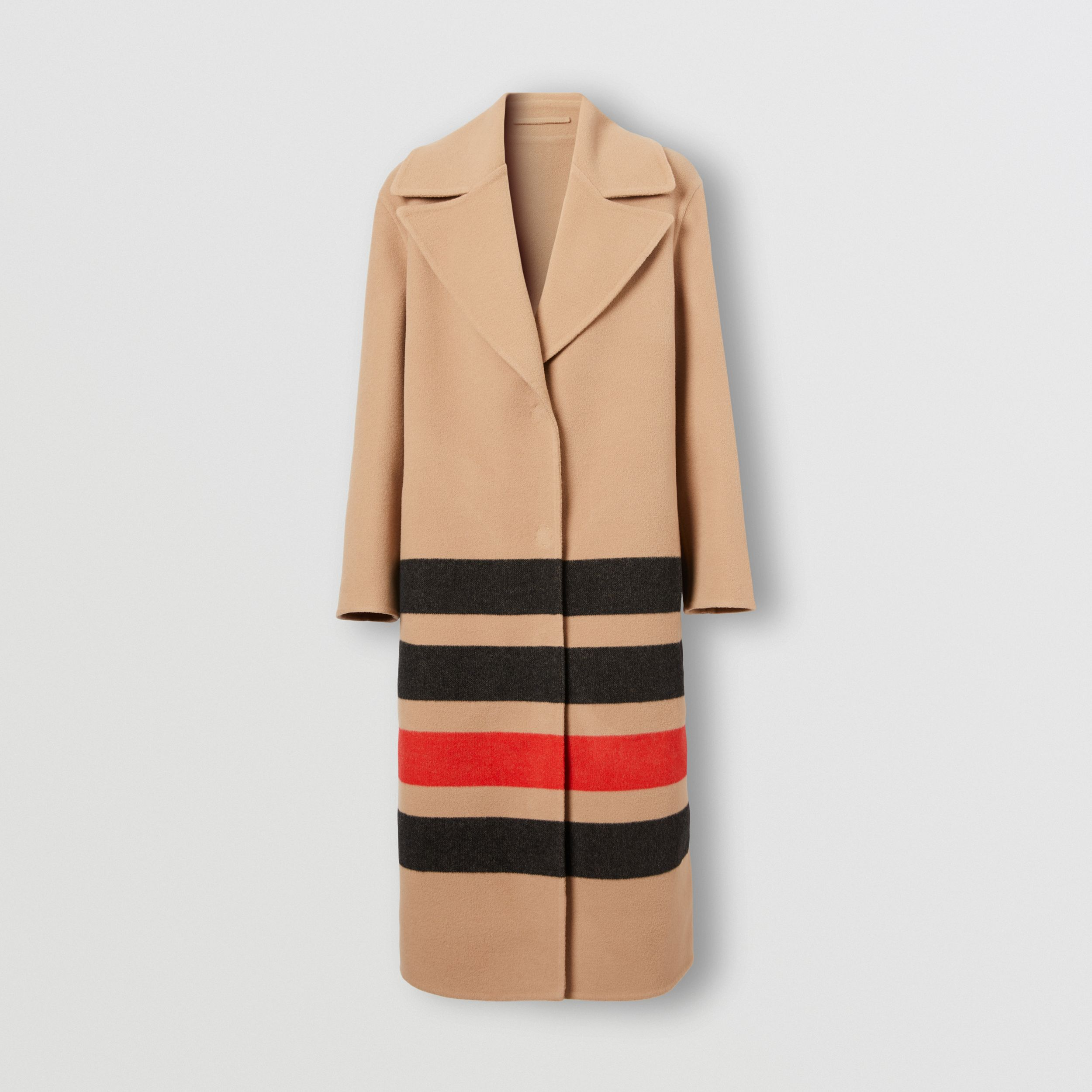 Stripe Detail Double-faced Wool Coat in Light Camel - Women | Burberry - 4