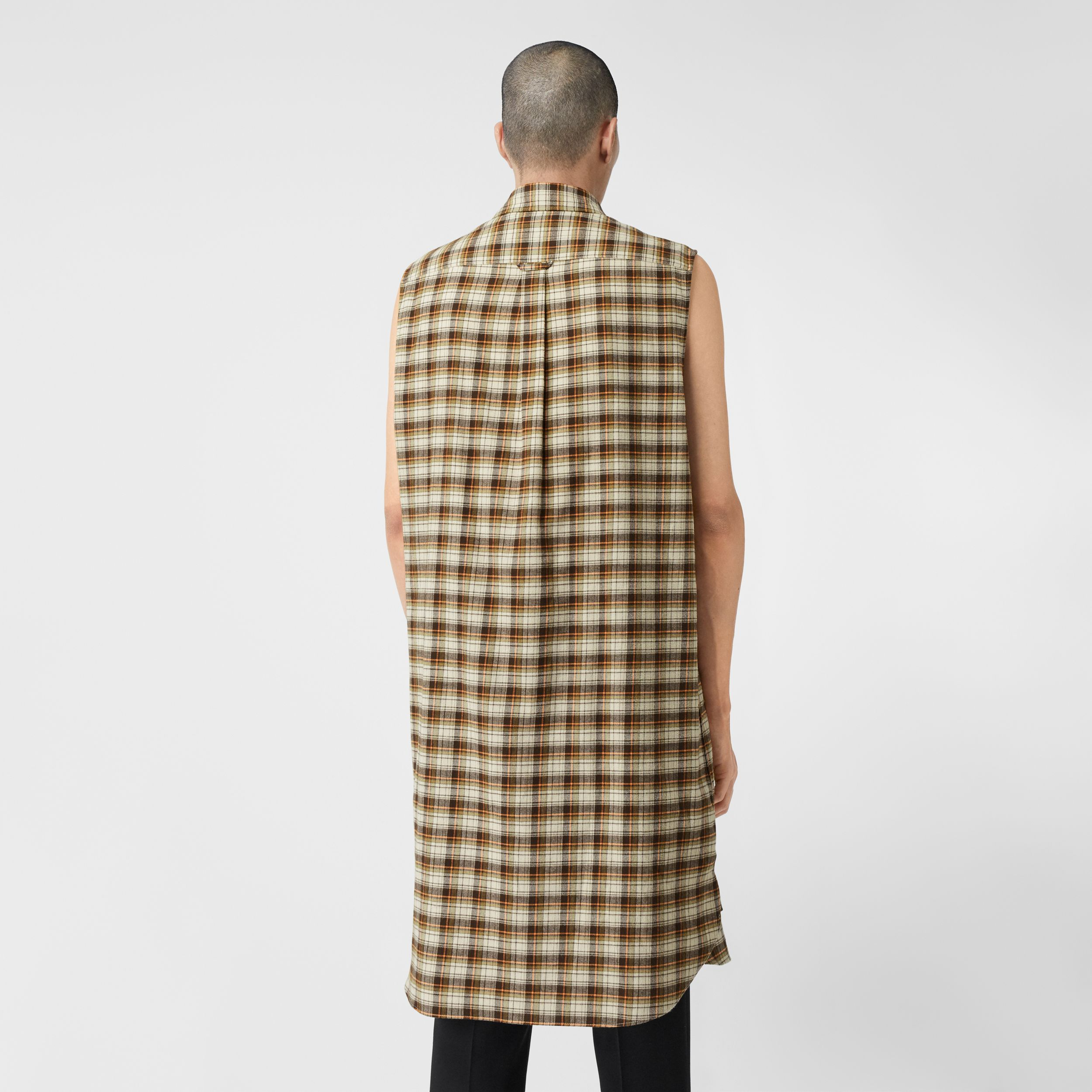 Sleeveless Check Cotton Flannel Tunic Shirt in Dark Olive | Burberry - 3