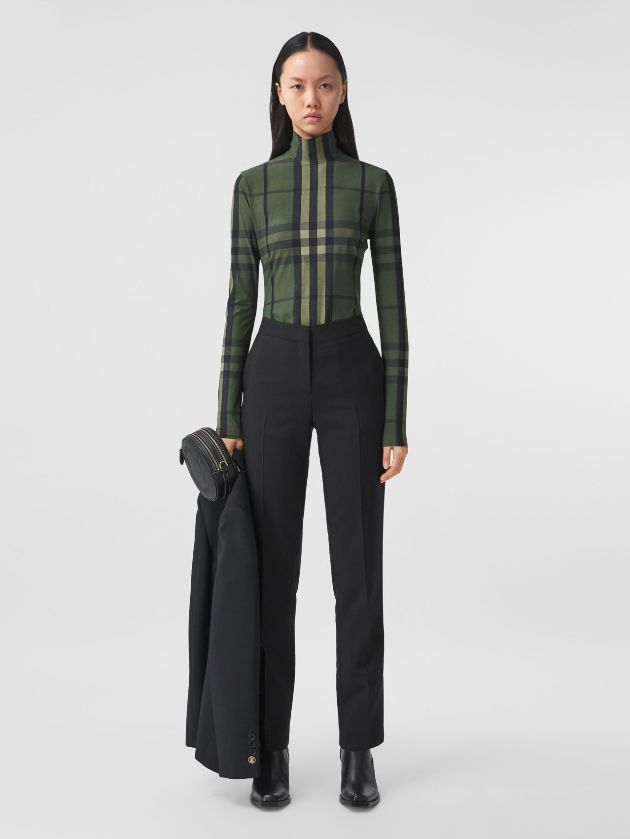 Check Stretch Jersey Turtleneck Top in Military Green