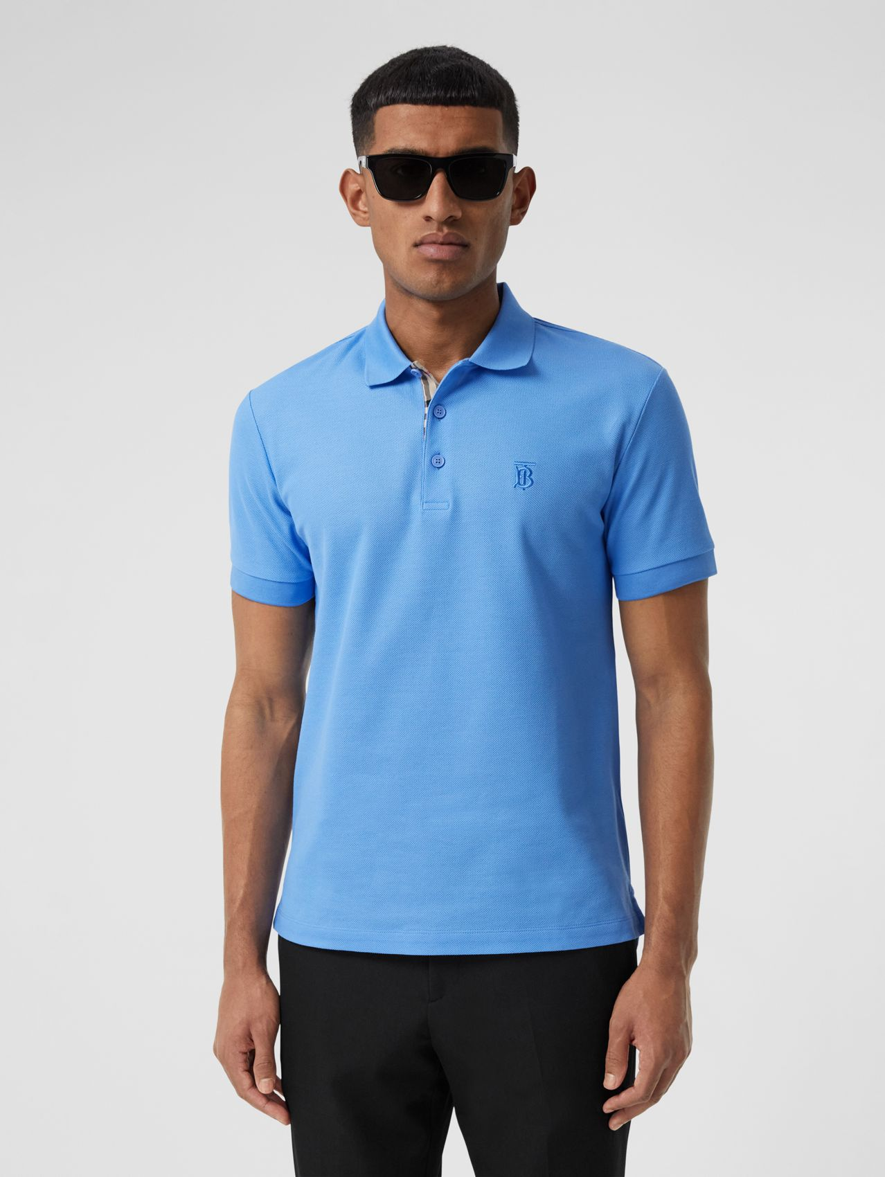 Monogram Motif Cotton Piqué Polo Shirt in Vivid Cobalt