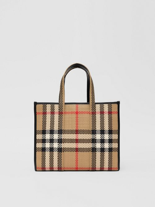 Burberry Small Latticed Leather Tote Bag