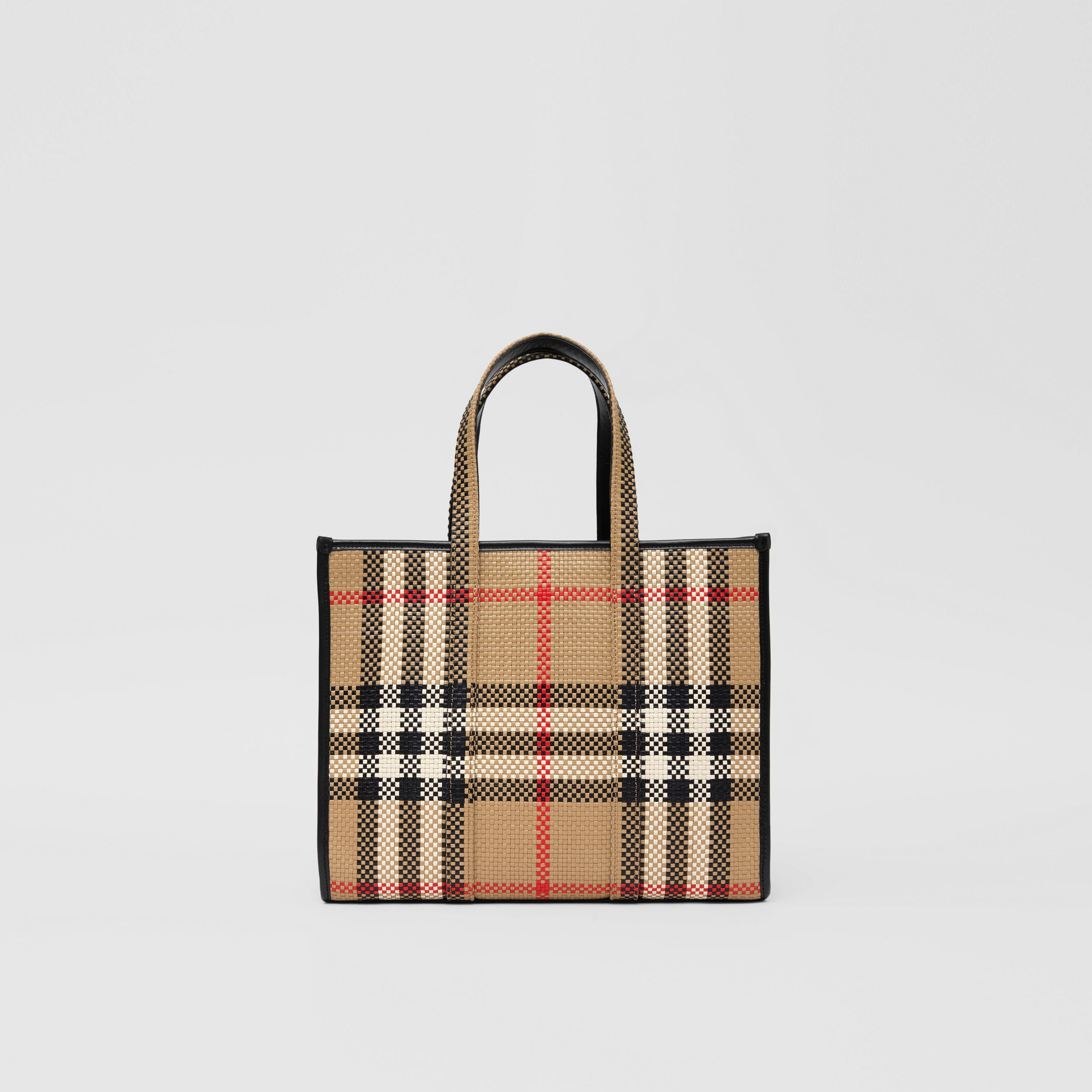 Small Latticed Leather Tote Bag in Archive Beige - Women | Burberry Hong Kong S.A.R. - 1