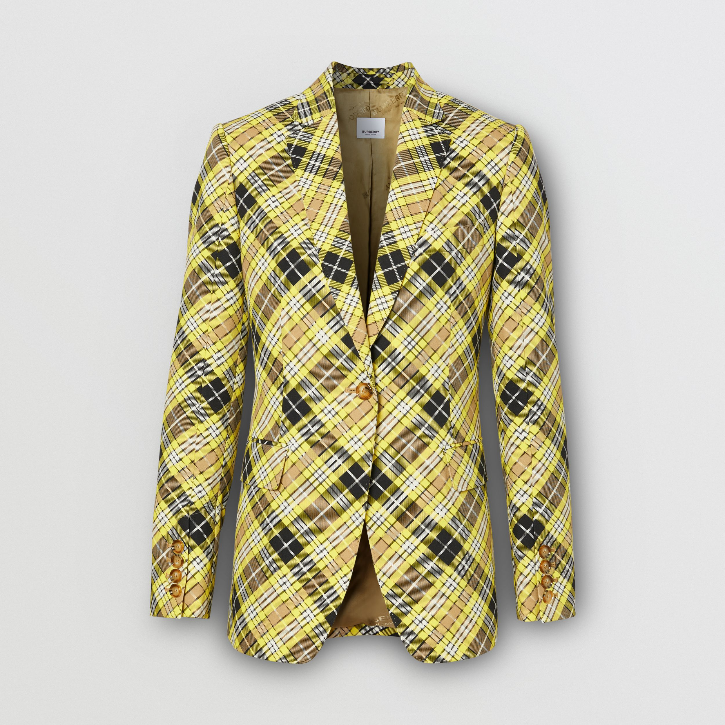 Check Technical Wool Tailored Jacket in Marigold Yellow - Women | Burberry - 4