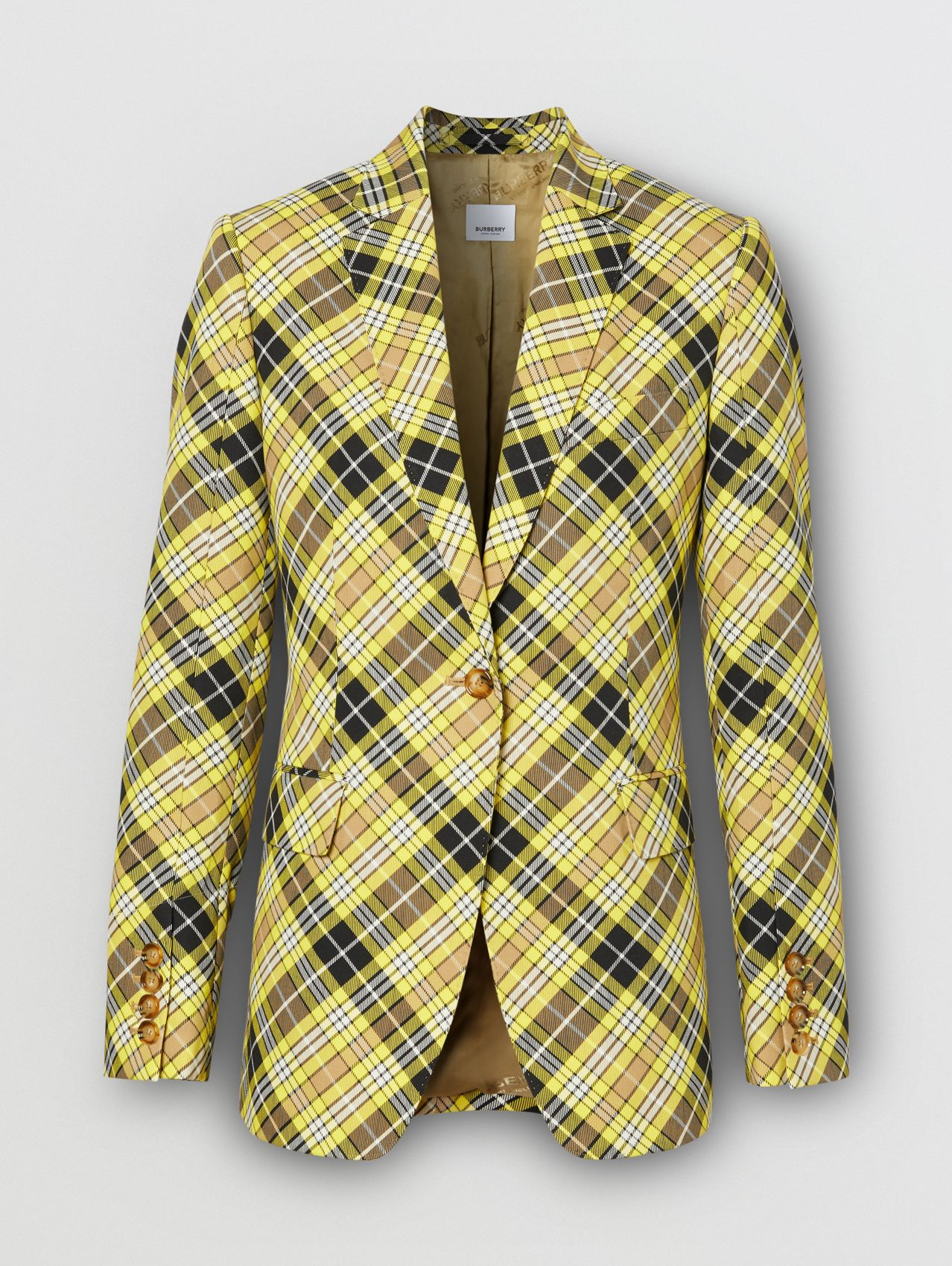 Check Technical Wool Tailored Jacket in Marigold Yellow