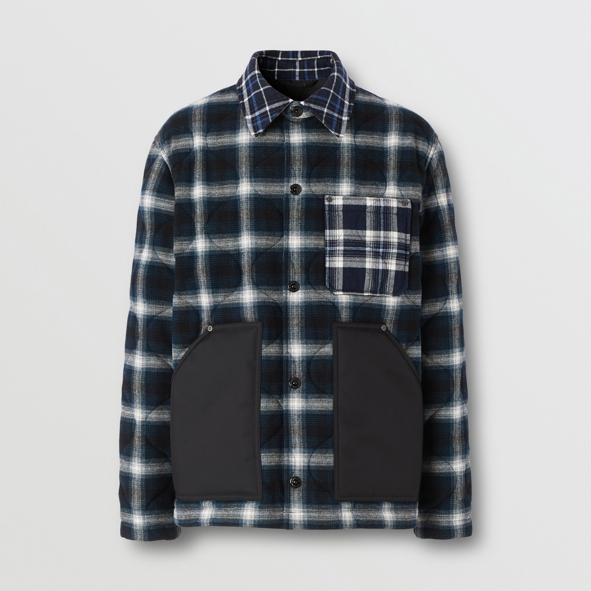 Contrast Pocket Check Wool Cotton Overshirt in Black - Men | Burberry - 4