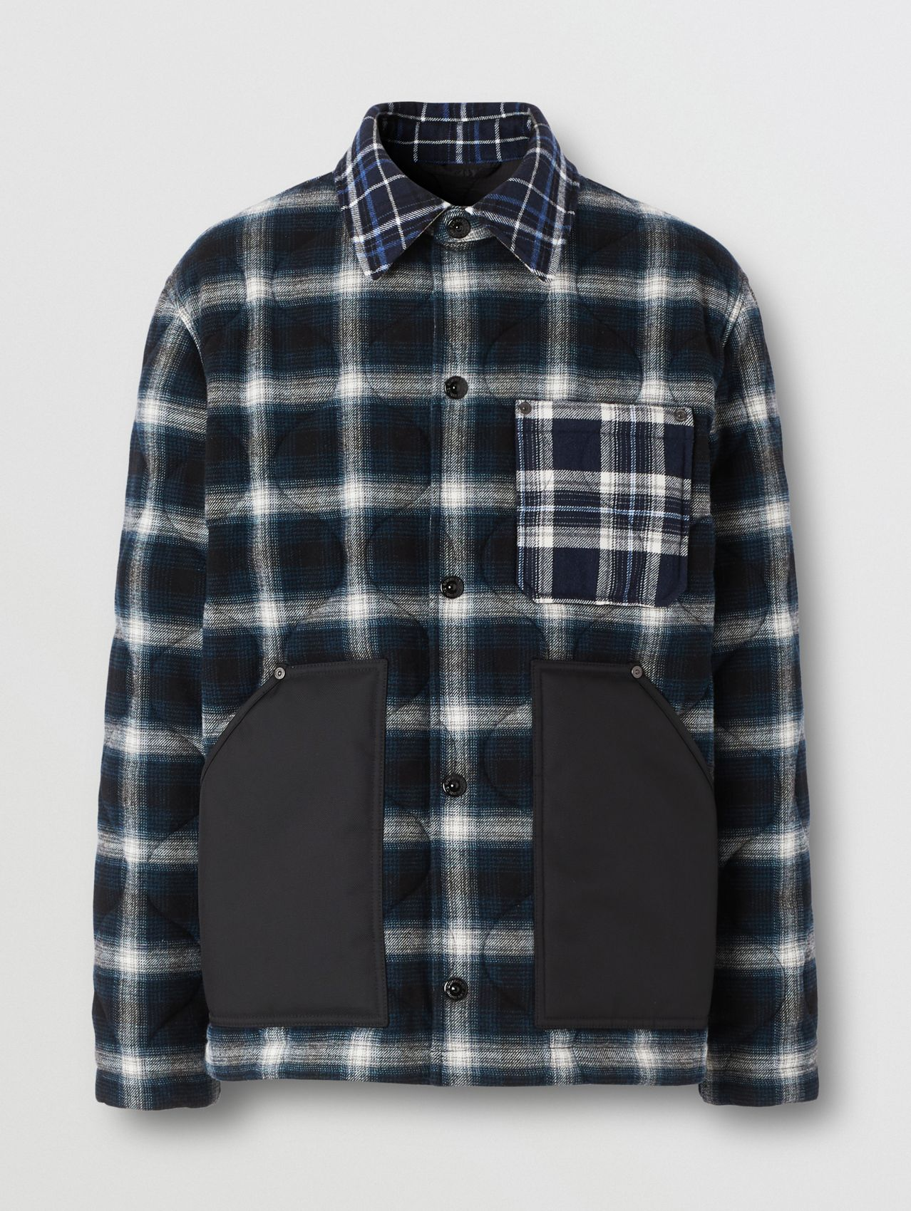Contrast Pocket Check Wool Cotton Overshirt in Black