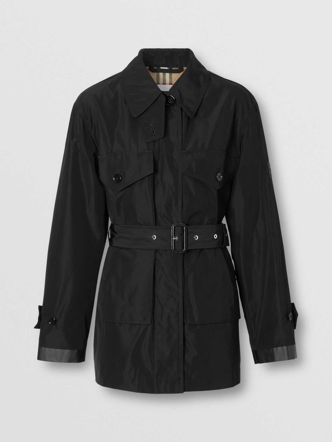 Shape-memory Taffeta Belted Jacket in Black