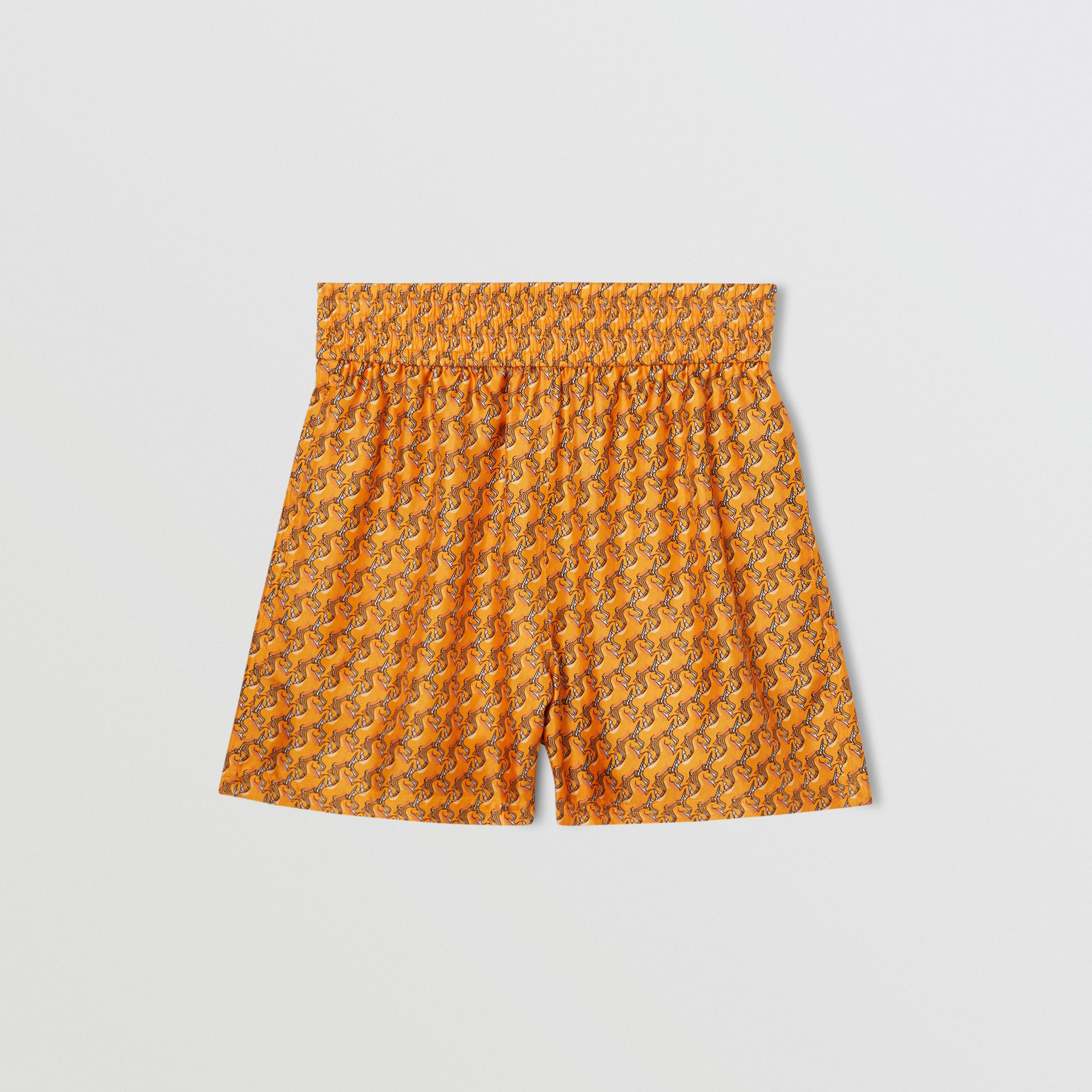 Unicorn Print Silk Twill Shorts in Bright Melon - Women | Burberry - 4