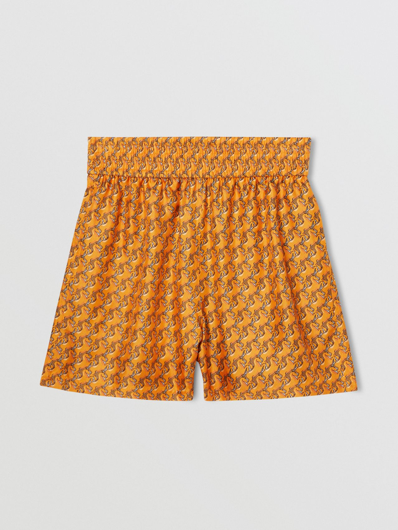 Unicorn Print Silk Twill Shorts in Bright Melon
