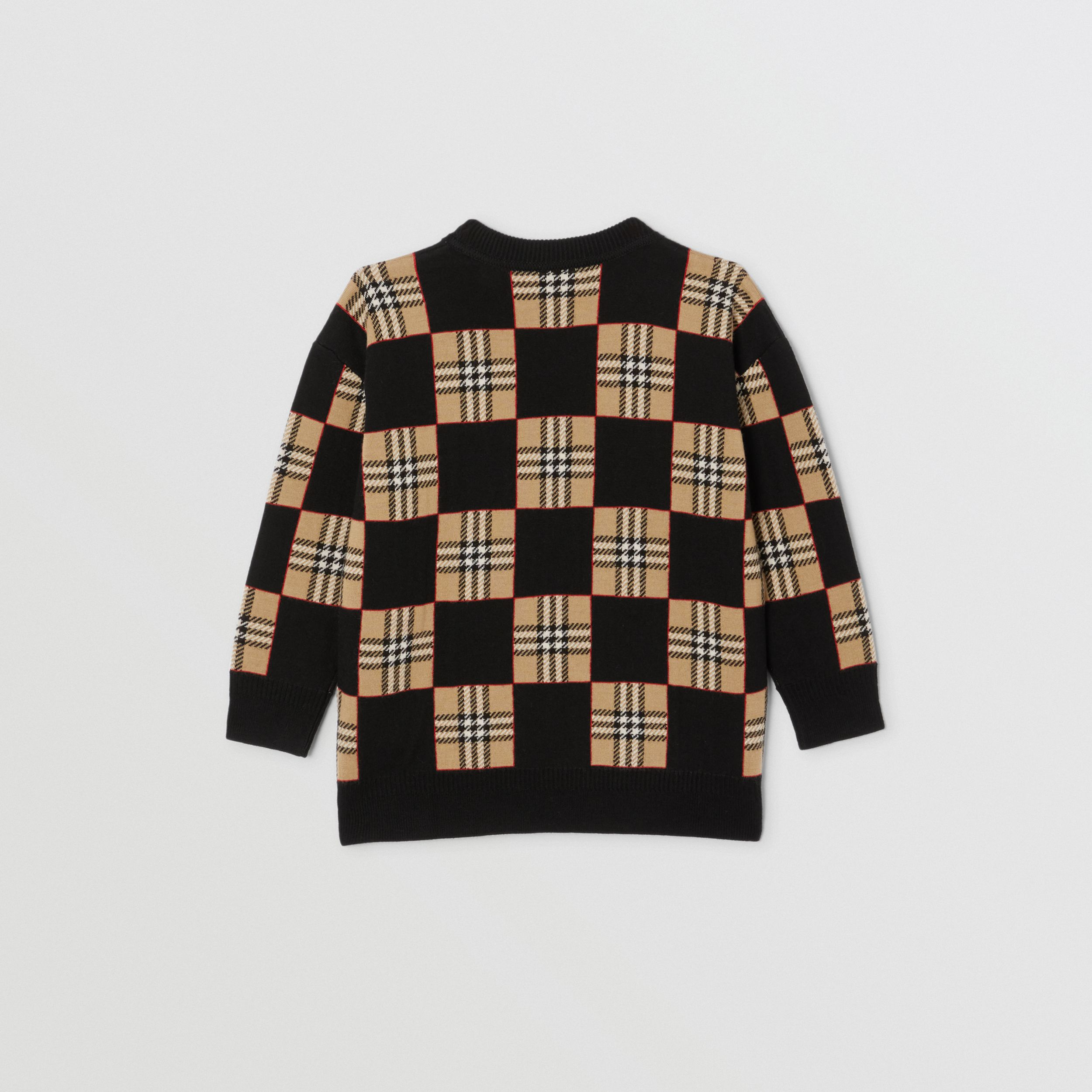 Chequer Merino Wool Jacquard Sweater in Archive Beige | Burberry - 4