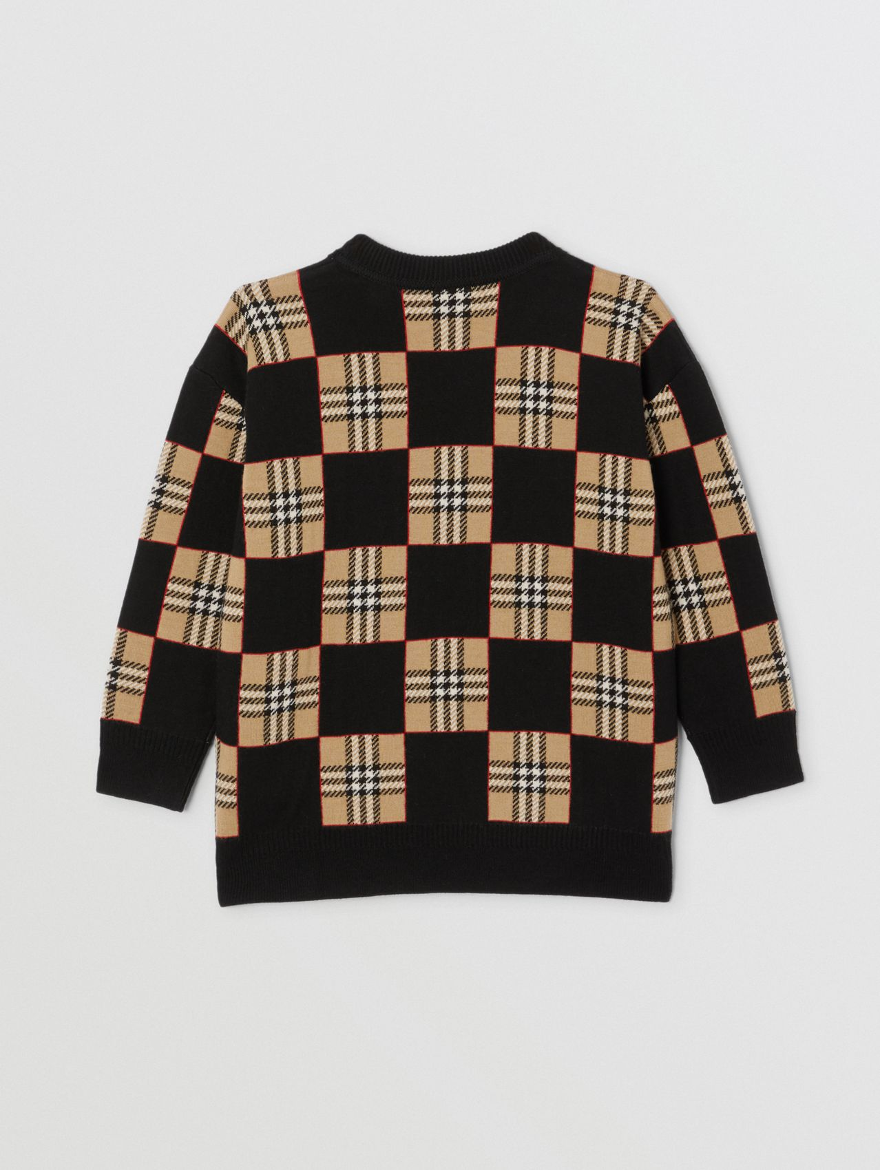 Chequer Merino Wool Jacquard Sweater in Archive Beige