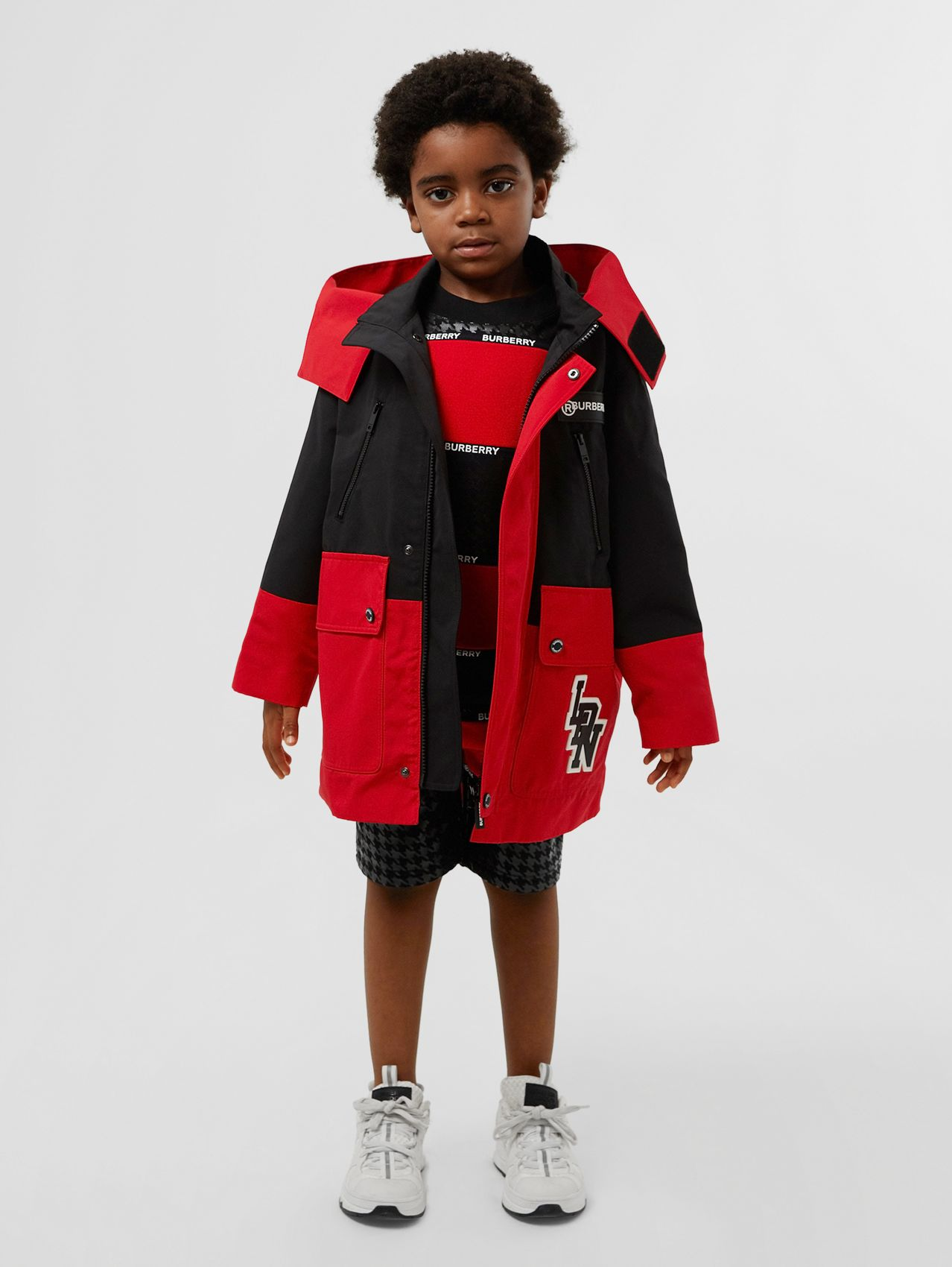 Two-tone Coat with Detachable Icon Stripe Warmer in Racing Red