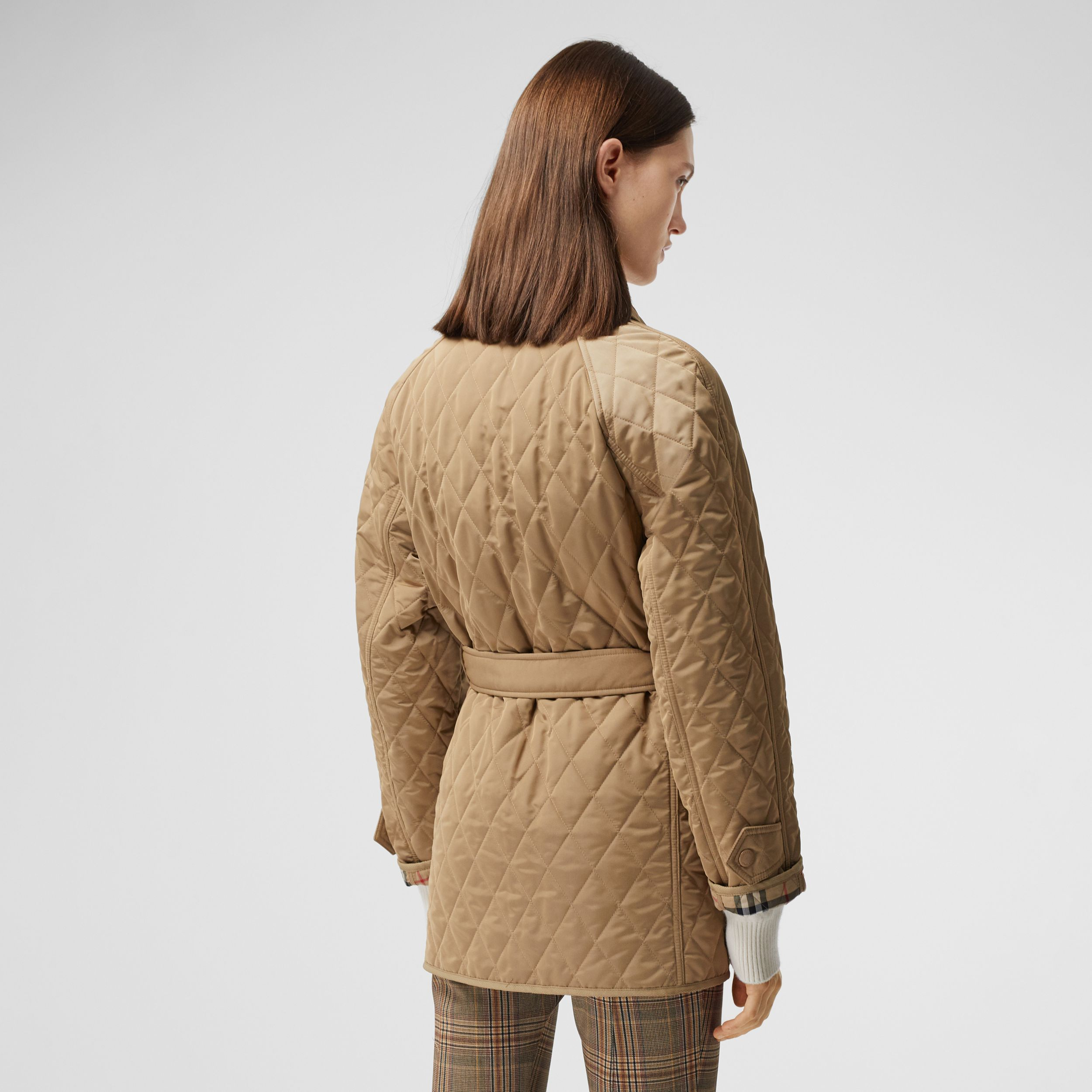 Diamond Quilted Nylon Canvas Field Jacket in Archive Beige - Women | Burberry - 3