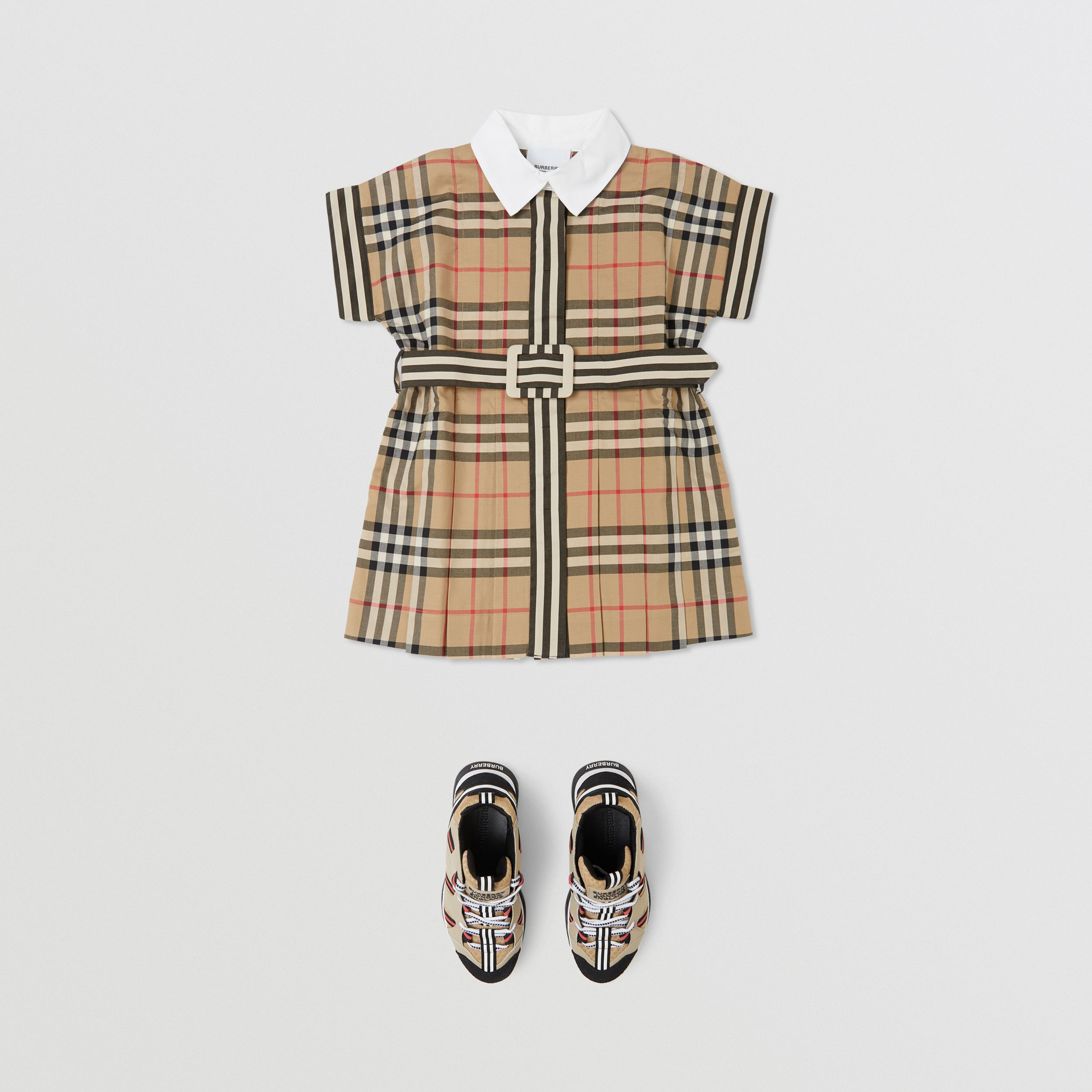 Contrast Collar Vintage Check Cotton Dress in Archive Beige - Children | Burberry - 3