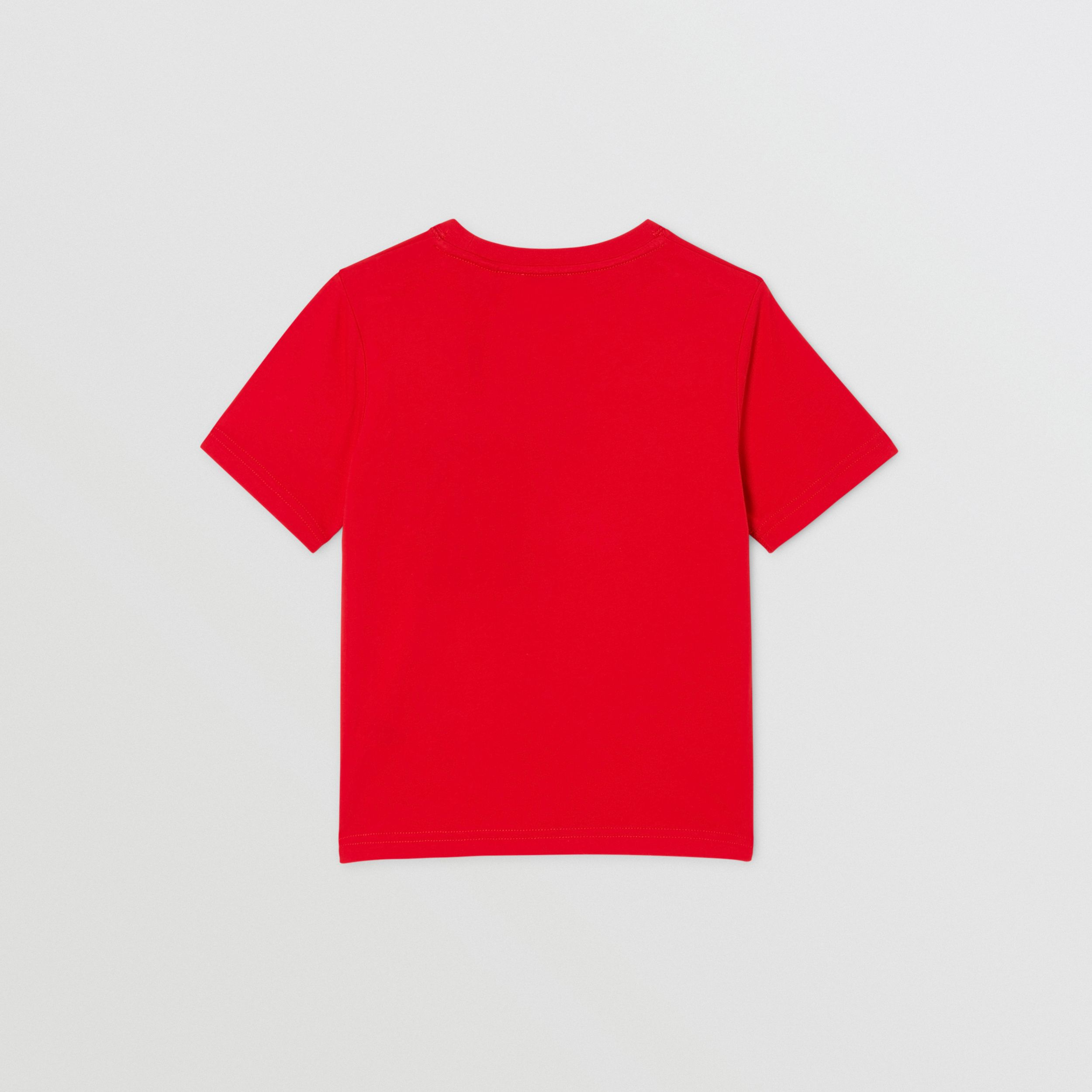Logo Graphic Print Cotton T-shirt in Bright Red | Burberry - 4