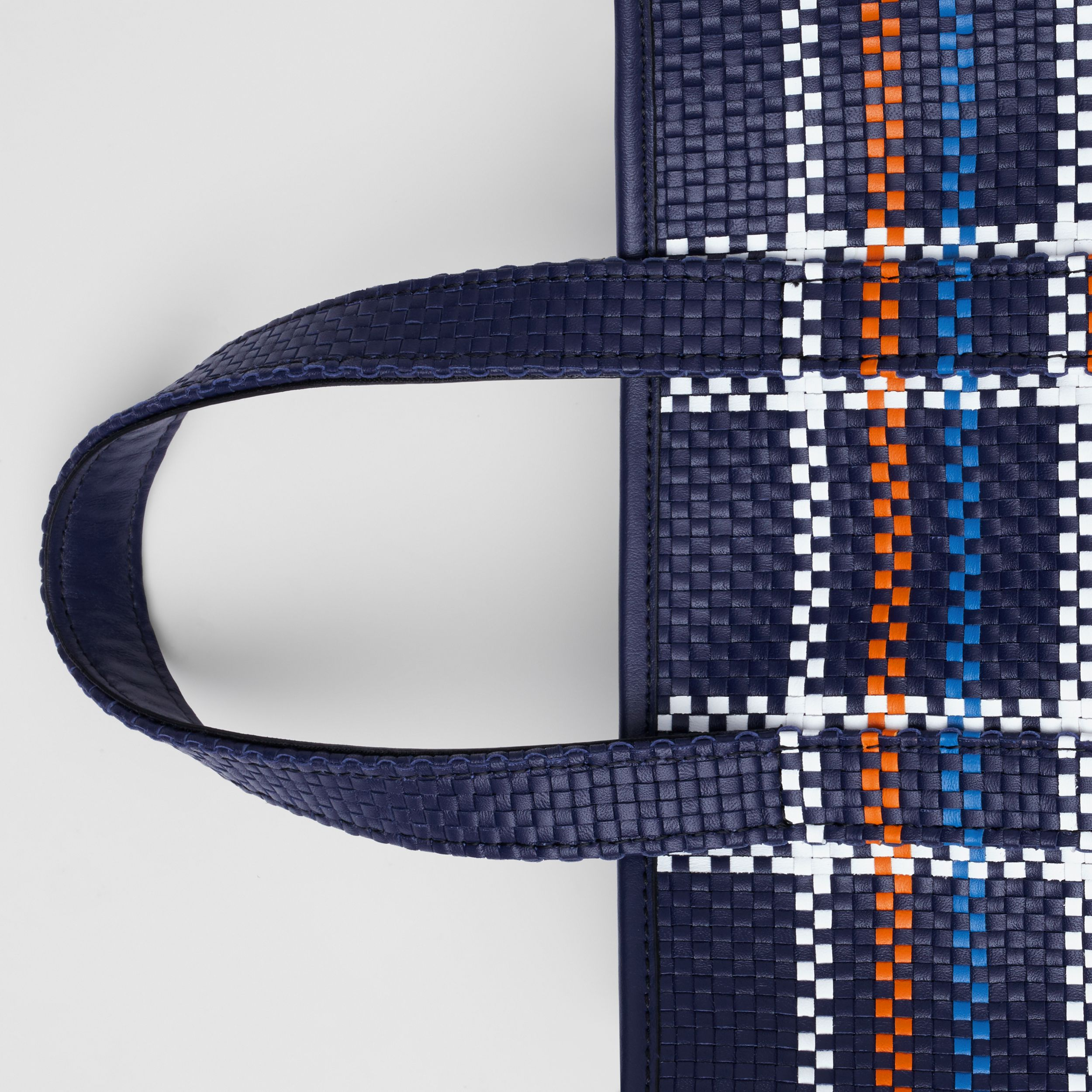 Small Latticed Leather Portrait Tote Bag in Blue/white/orange - Women | Burberry - 2