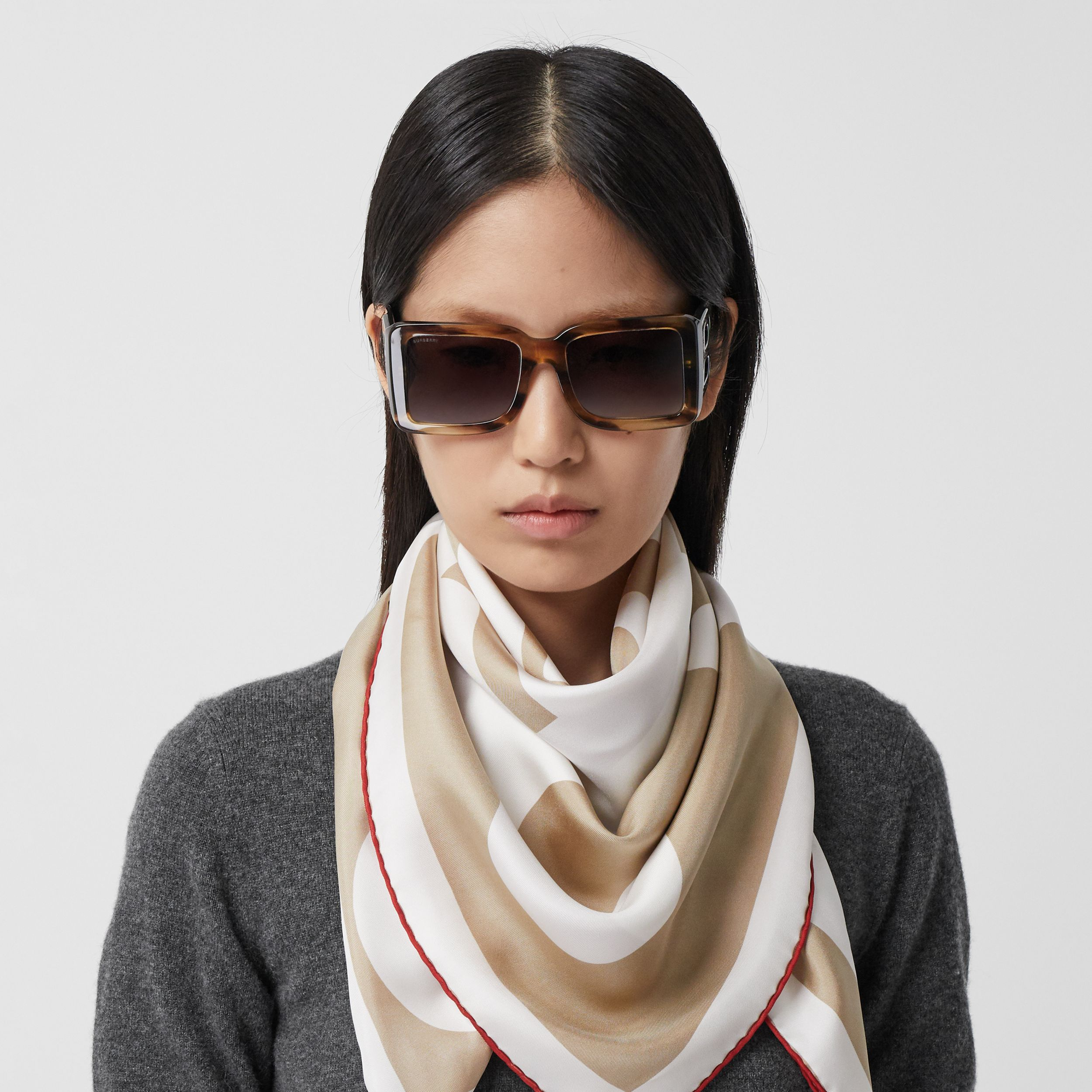 Archive Logo Print Silk Square Scarf in Burgundy/beige | Burberry - 3