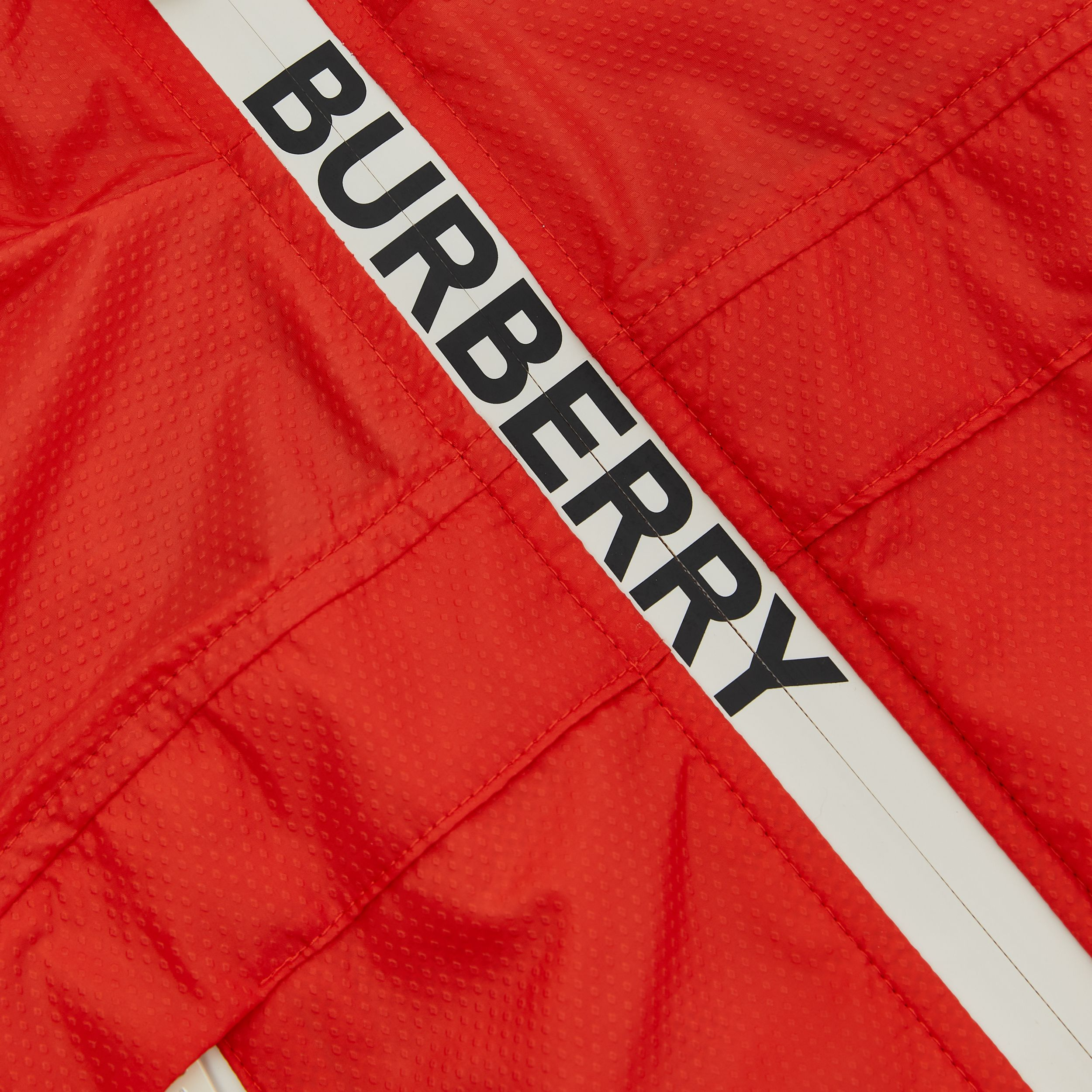 Logo Print Lightweight Hooded Jacket in Orange Red | Burberry - 2