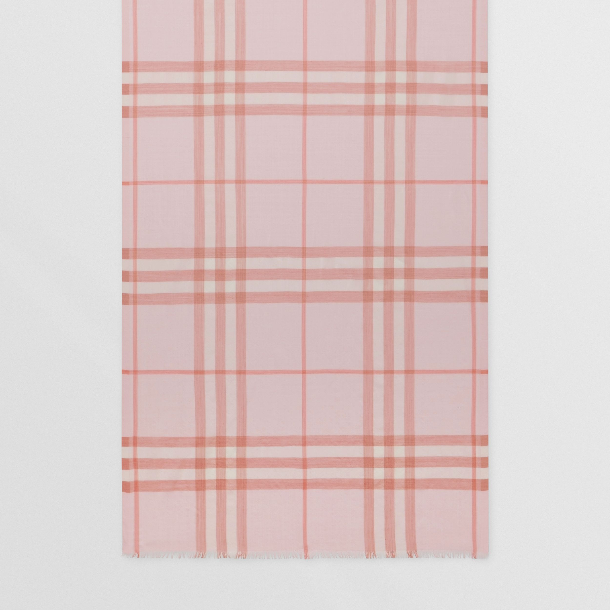 Lightweight Check Wool Silk Scarf | Burberry - 4