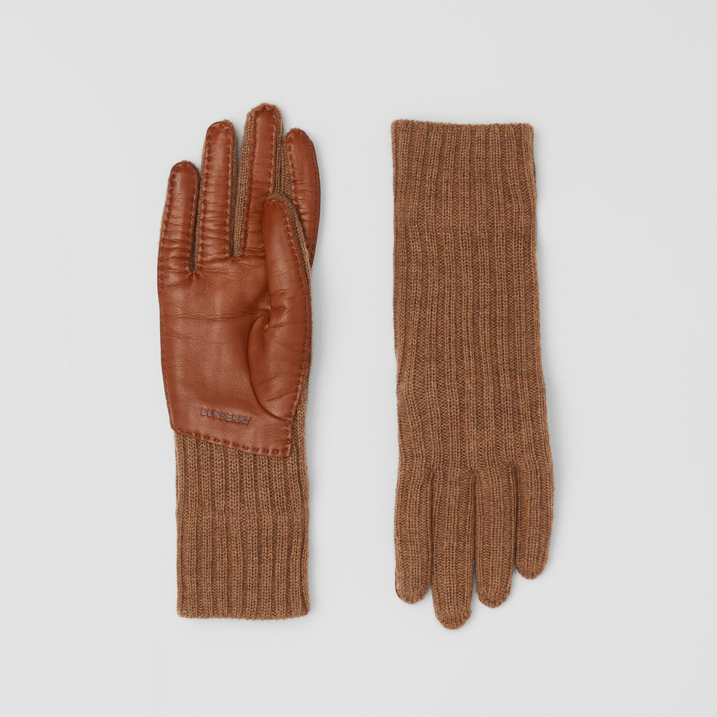 Cashmere-lined Merino Wool and Deerskin Gloves in Camel - Men | Burberry - 1