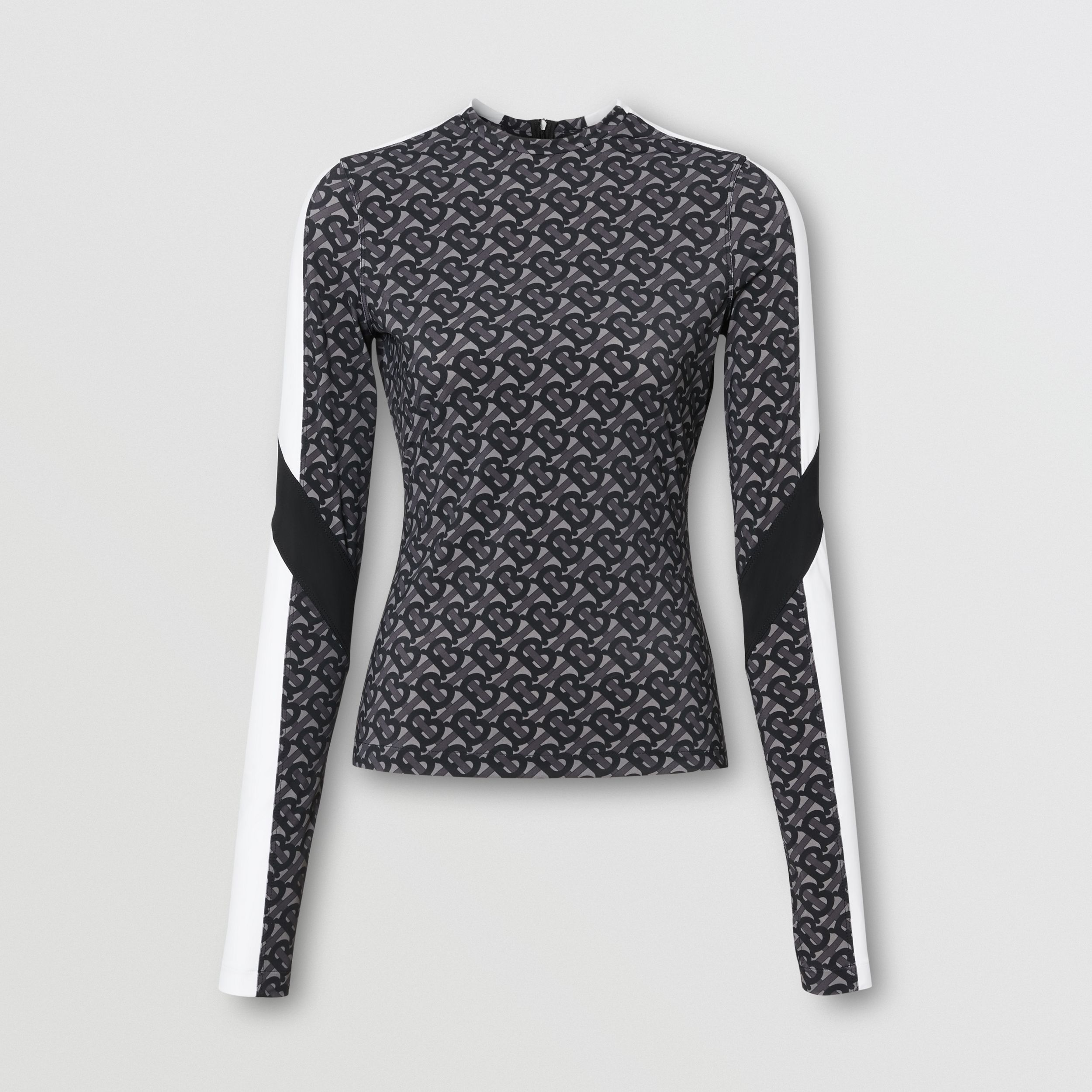 Colour Block Monogram Print Stretch Jersey Top in Graphite - Women | Burberry United Kingdom - 4