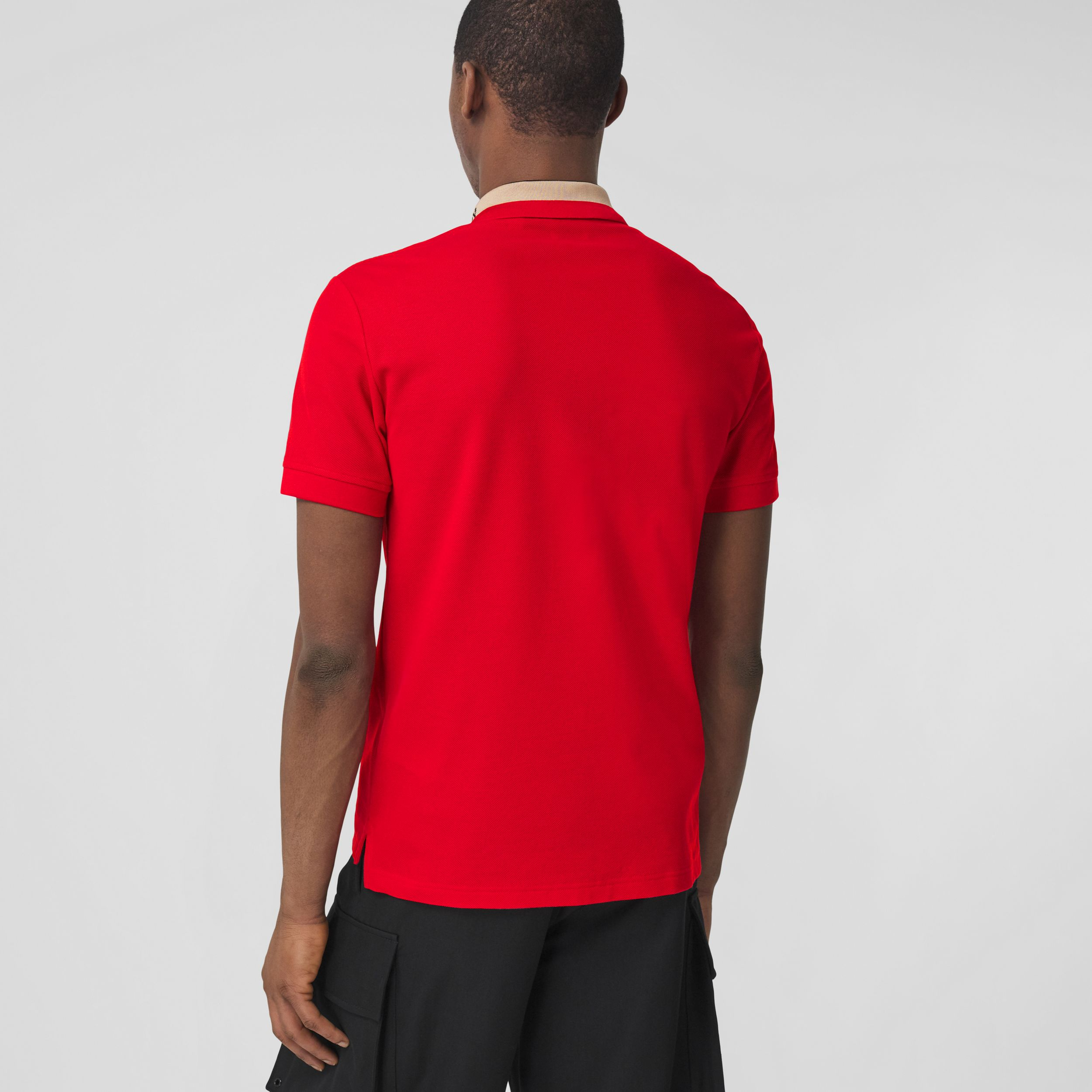 Logo Detail Cotton Piqué Polo Shirt in Bright Red - Men | Burberry - 3