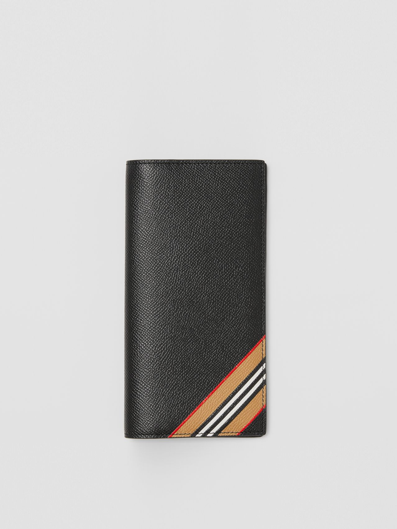 Icon Stripe Print Grainy Leather Continental Wallet in Black