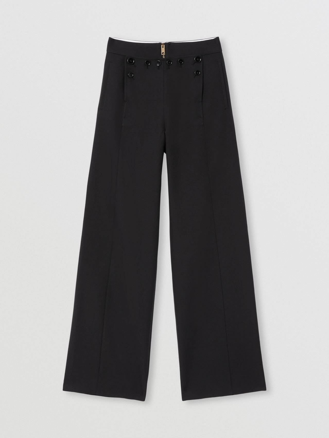Cotton Twill Sailor Trousers in Black