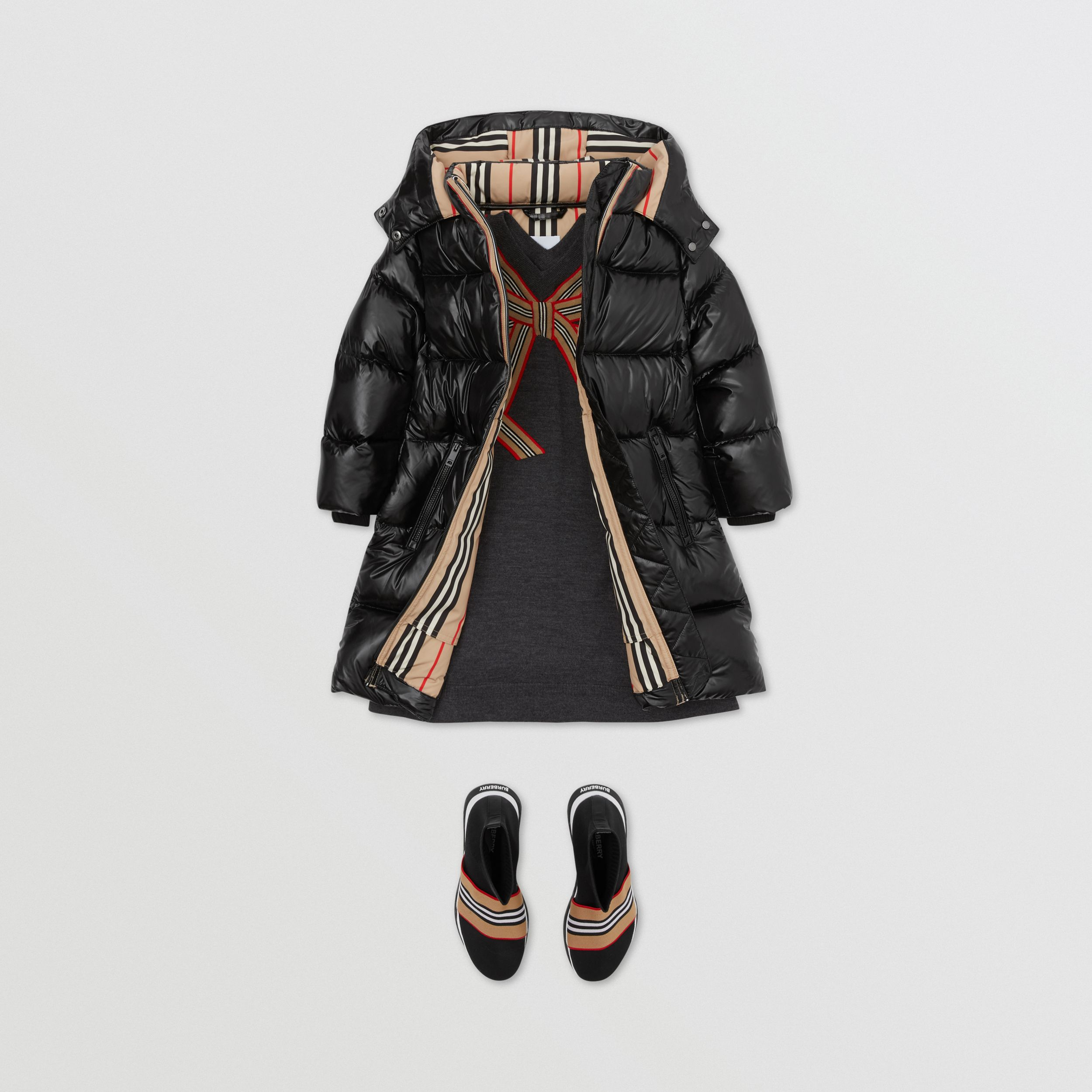 Icon Stripe Trim Hooded Puffer Coat in Black | Burberry - 4