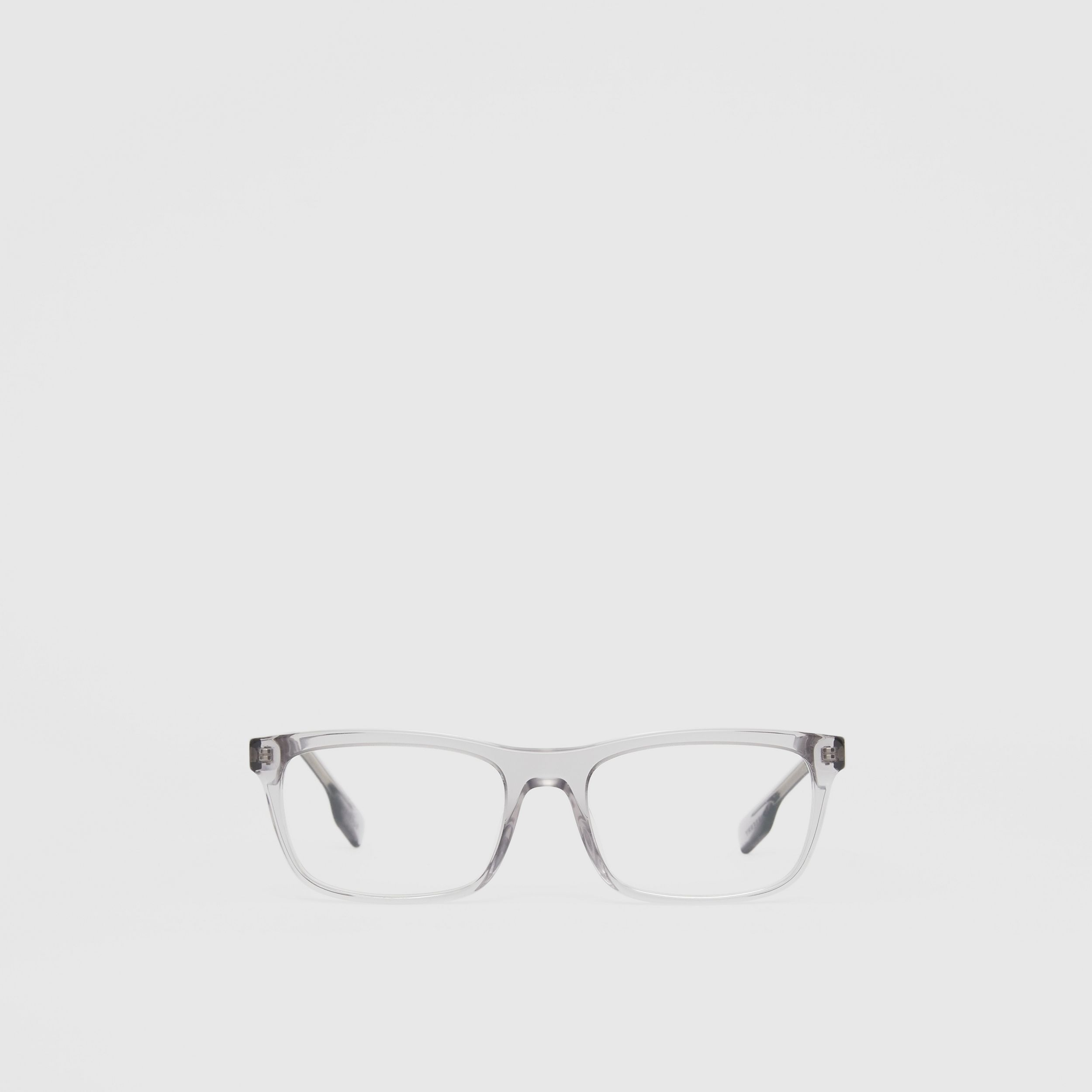 Icon Stripe Detail Rectangular Optical Frames in Grey - Men | Burberry - 1