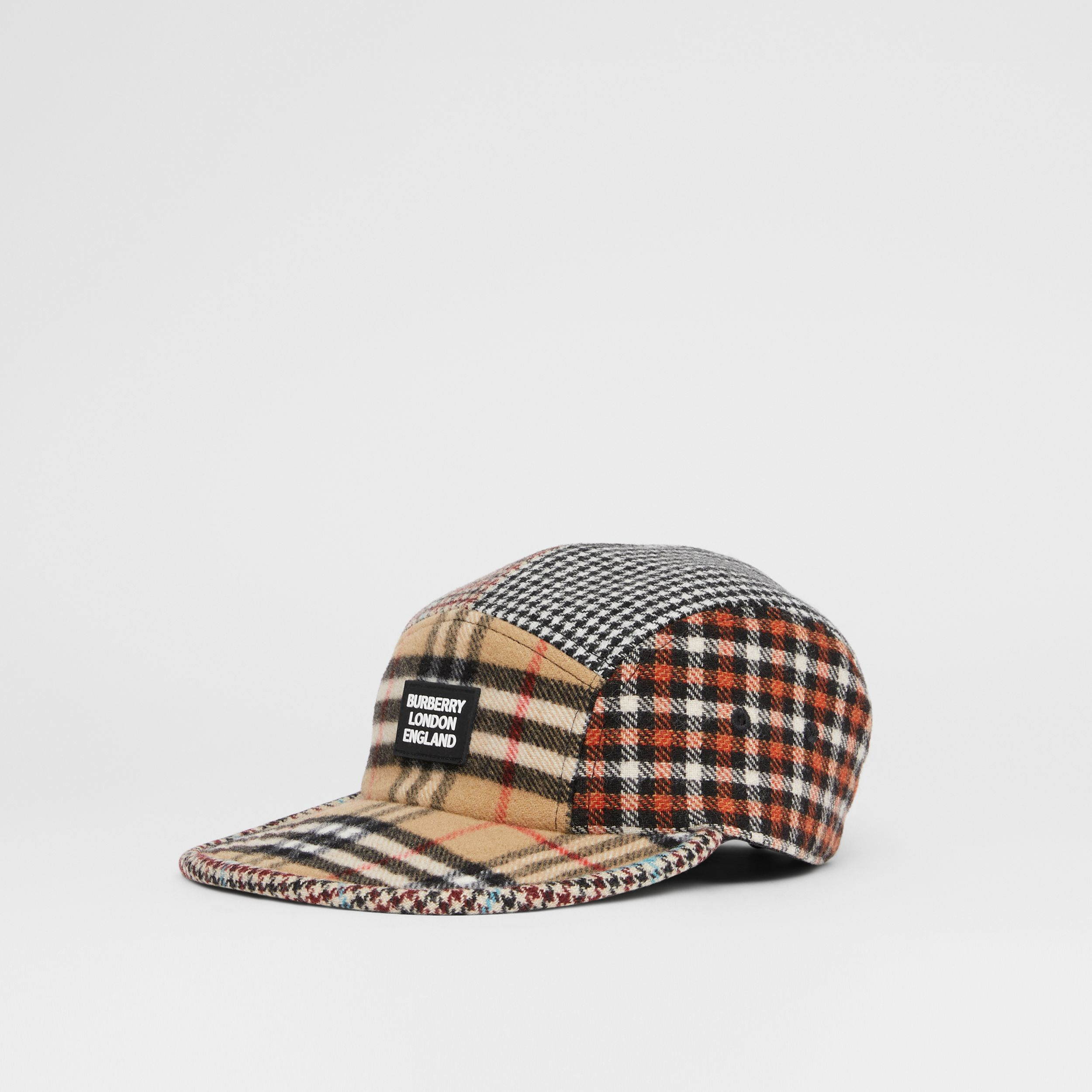 Patchwork Check Technical Wool Cap in Archive Beige - Children | Burberry - 4